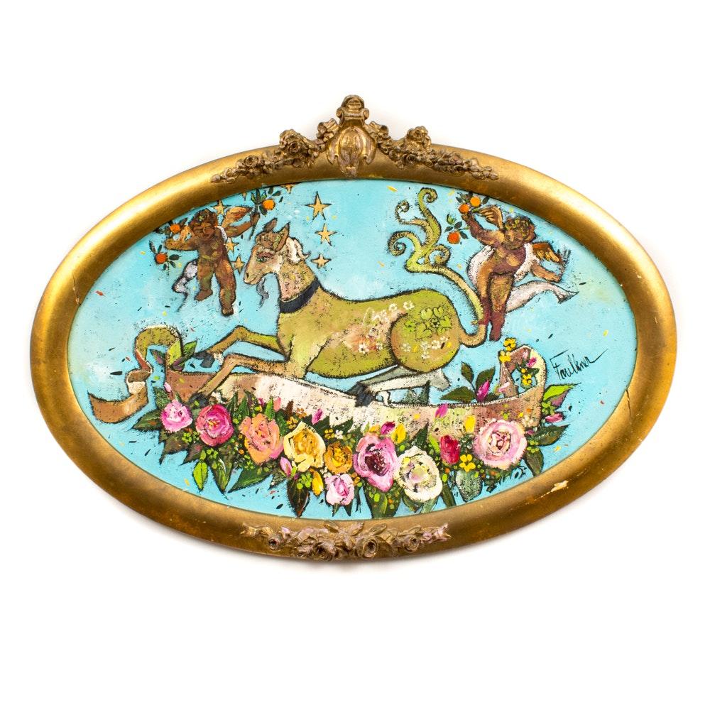 "Henry Lawrence Faulkner Oil and Casein, ""Alice, Cherubs and Roses"""