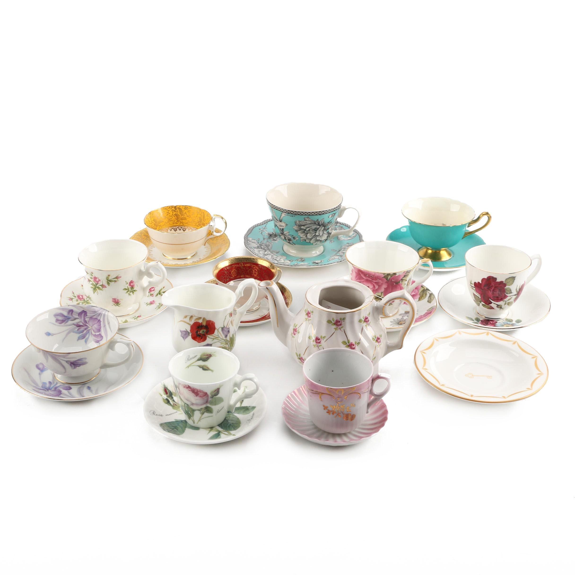 Porcelain Teacups and Saucers