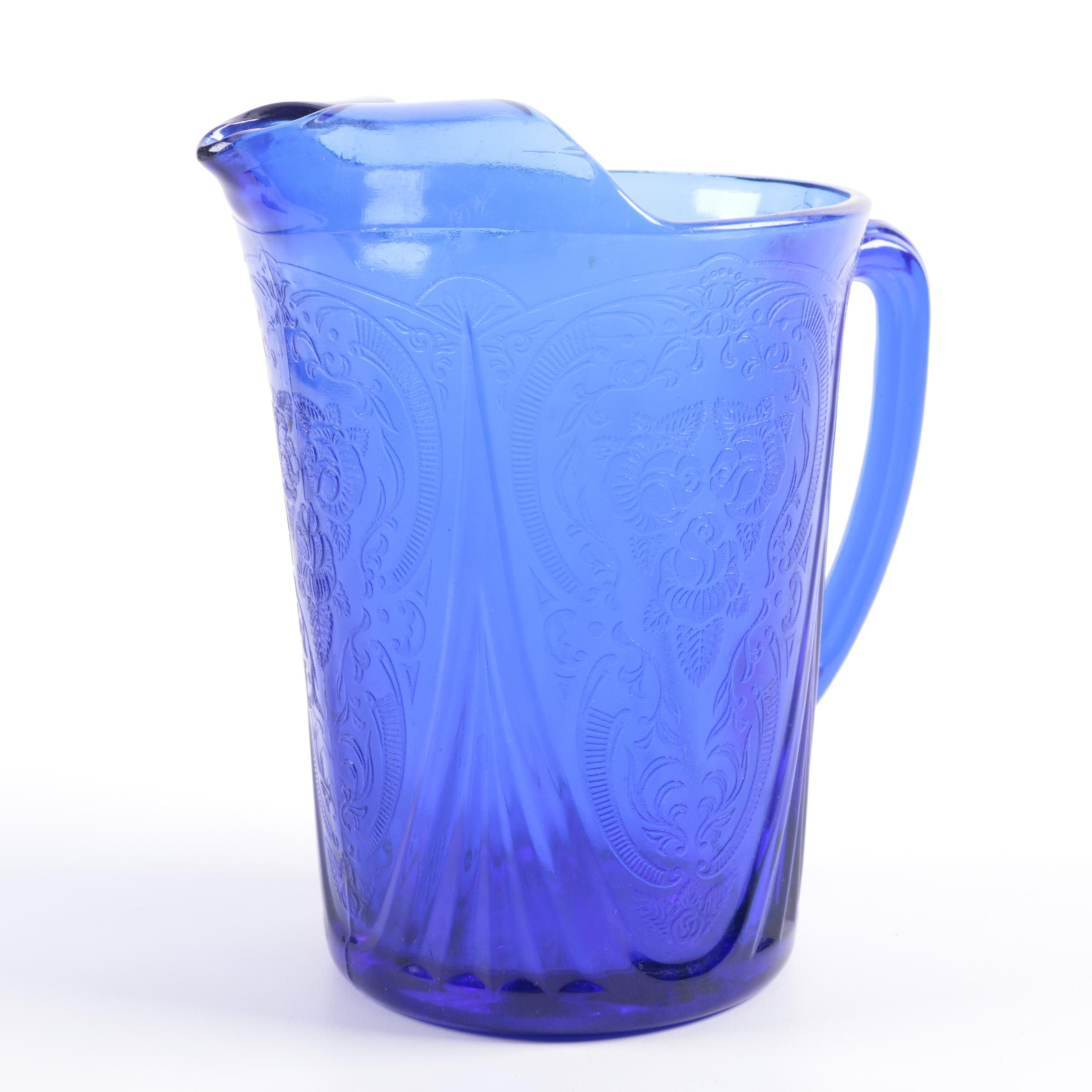 Pressed Blue Glass Rose and Scrolled Foliate Motif Pitcher