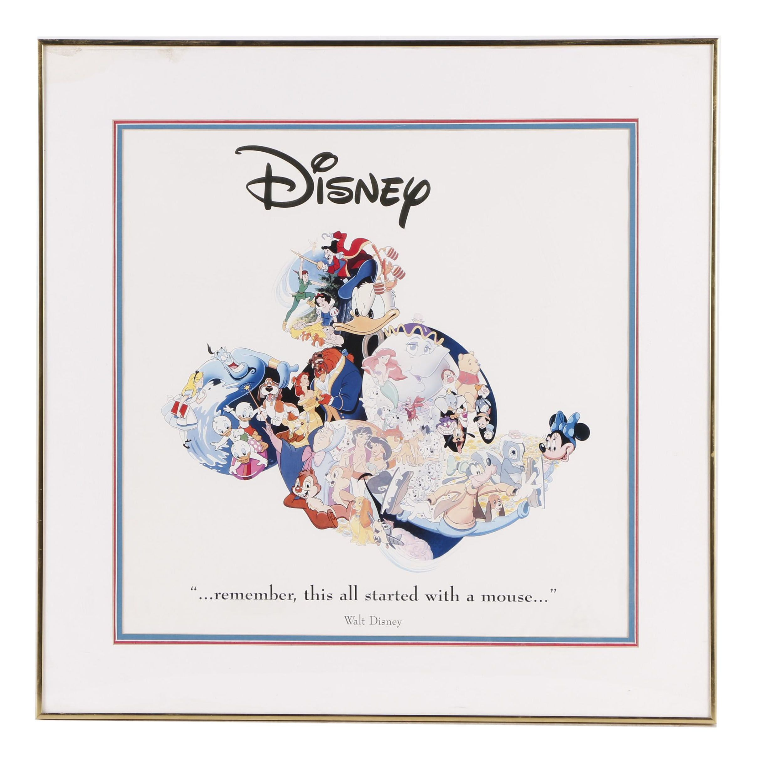"Disney Themed Offset Lithograph ""...Remember, This All Started with a Mouse"""