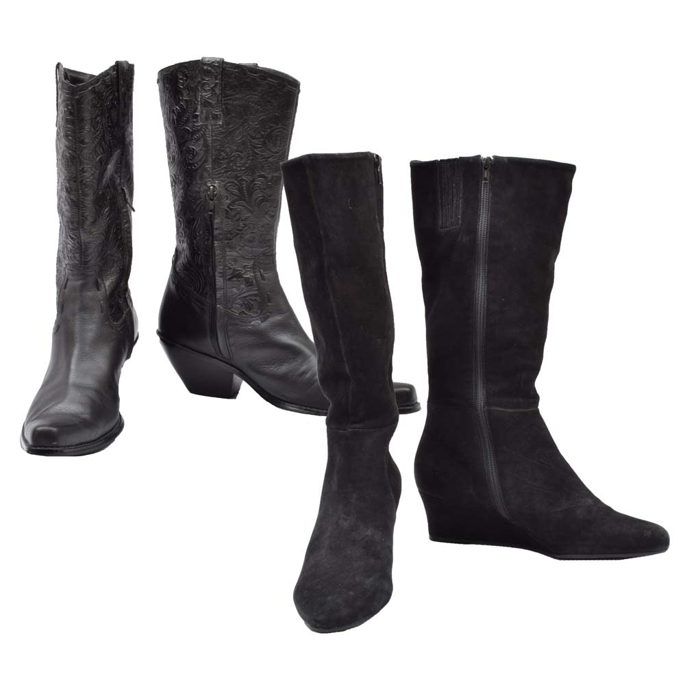 Women's Black Leather and Black Suede Boots
