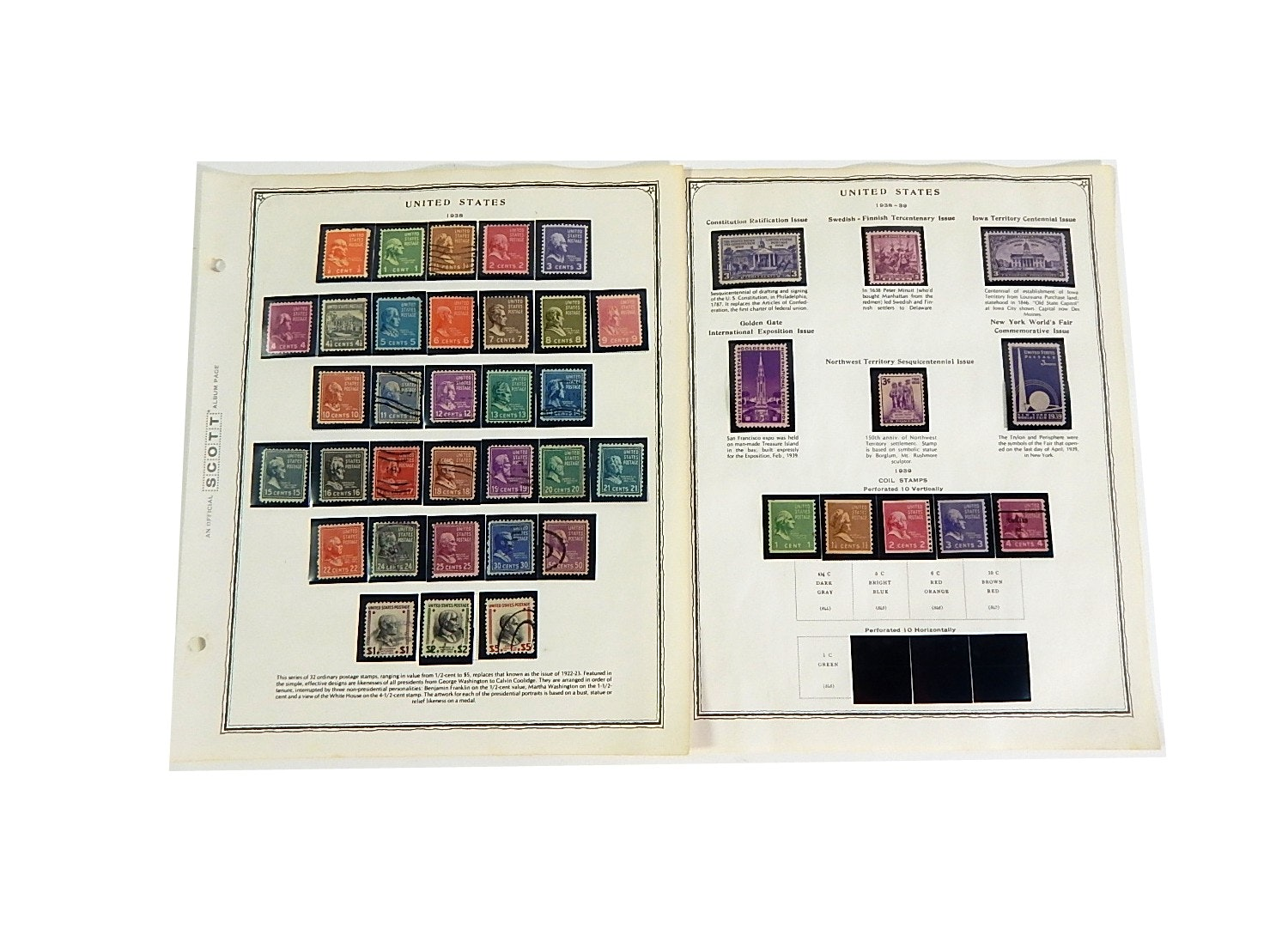 Early 1900s Stamp Collection from Scott Collectors Book - 1938 to 1939