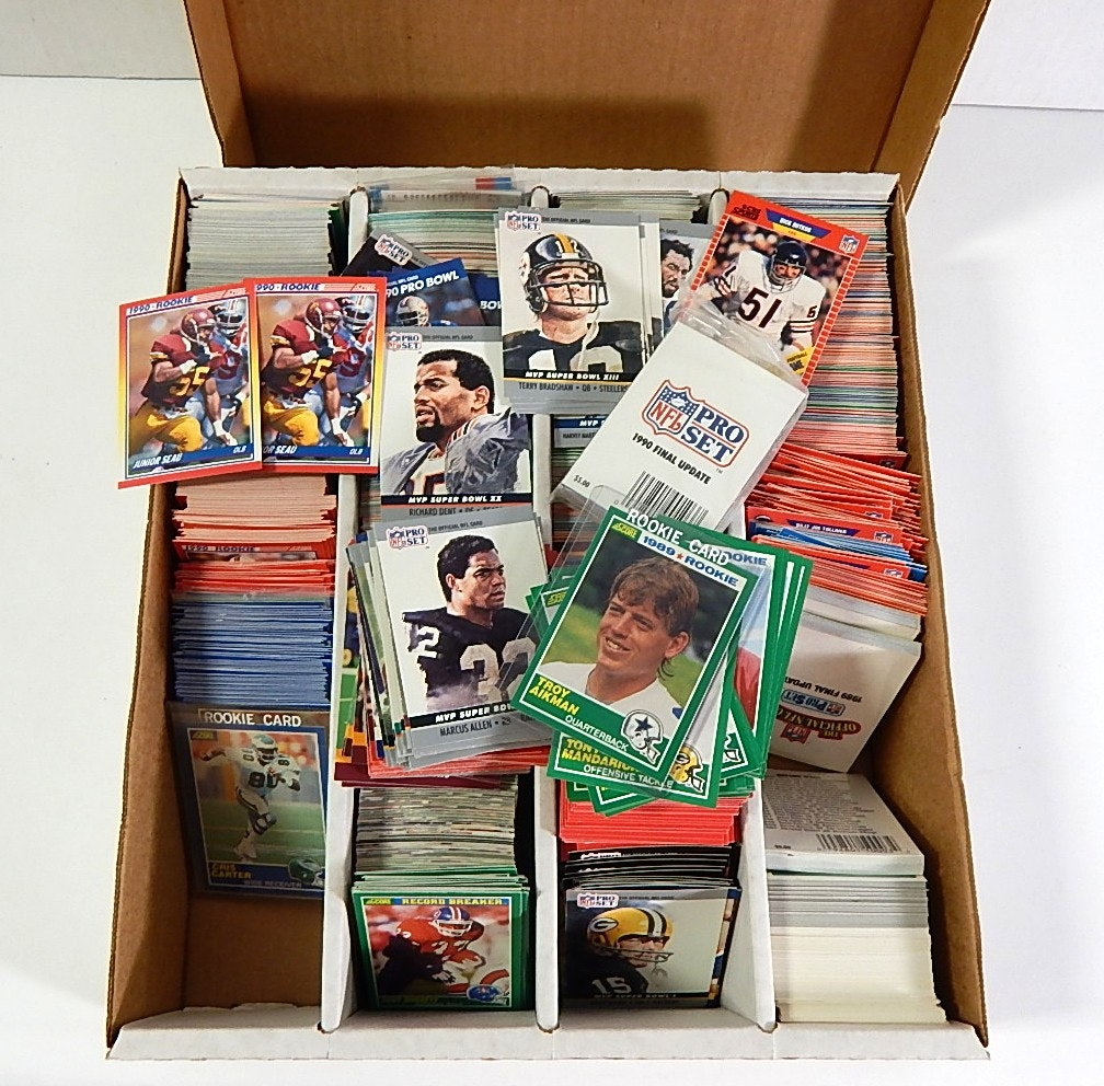 Large 3200 Count Box of Football Sports Cards with Score and Pro Set