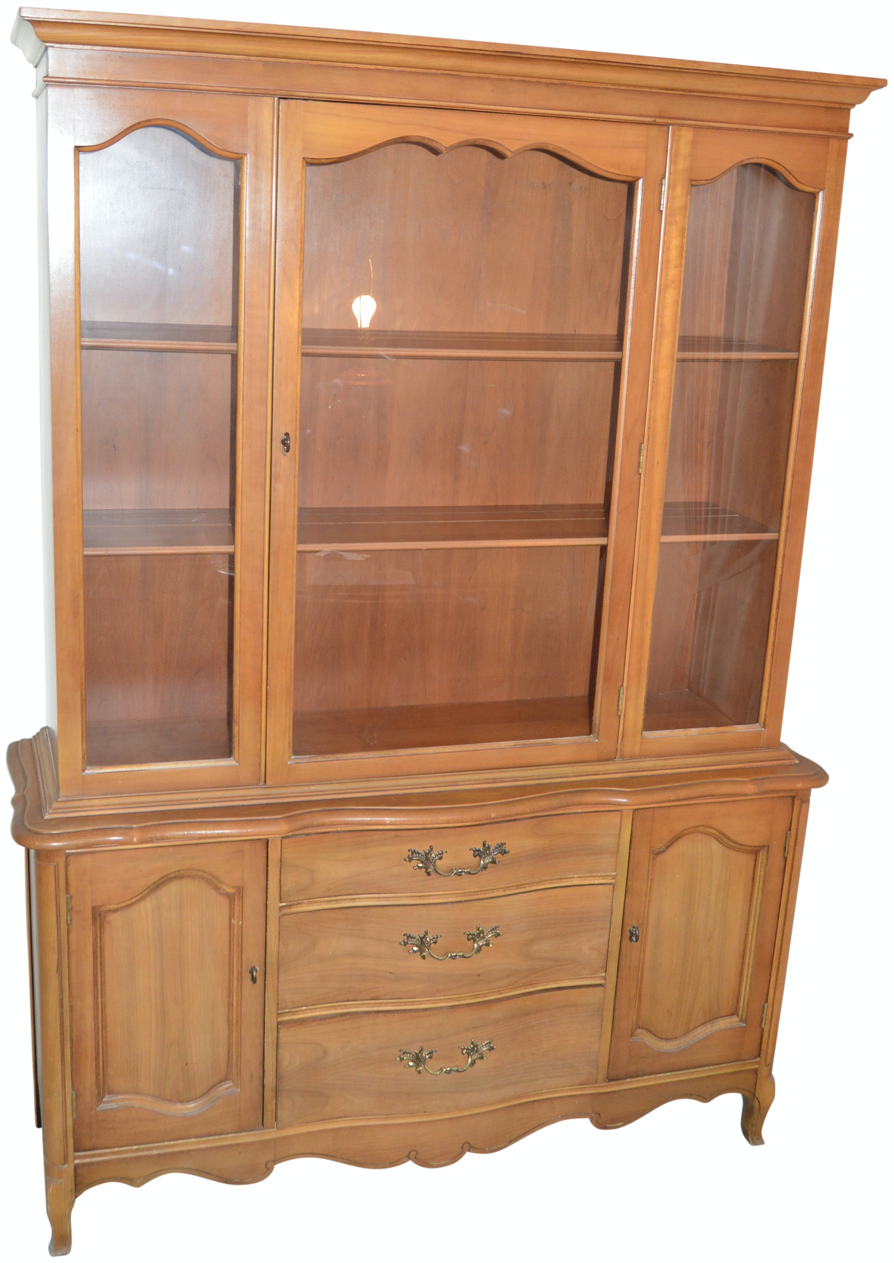 Vintage One Piece French Provincial Style China Cabinet ...