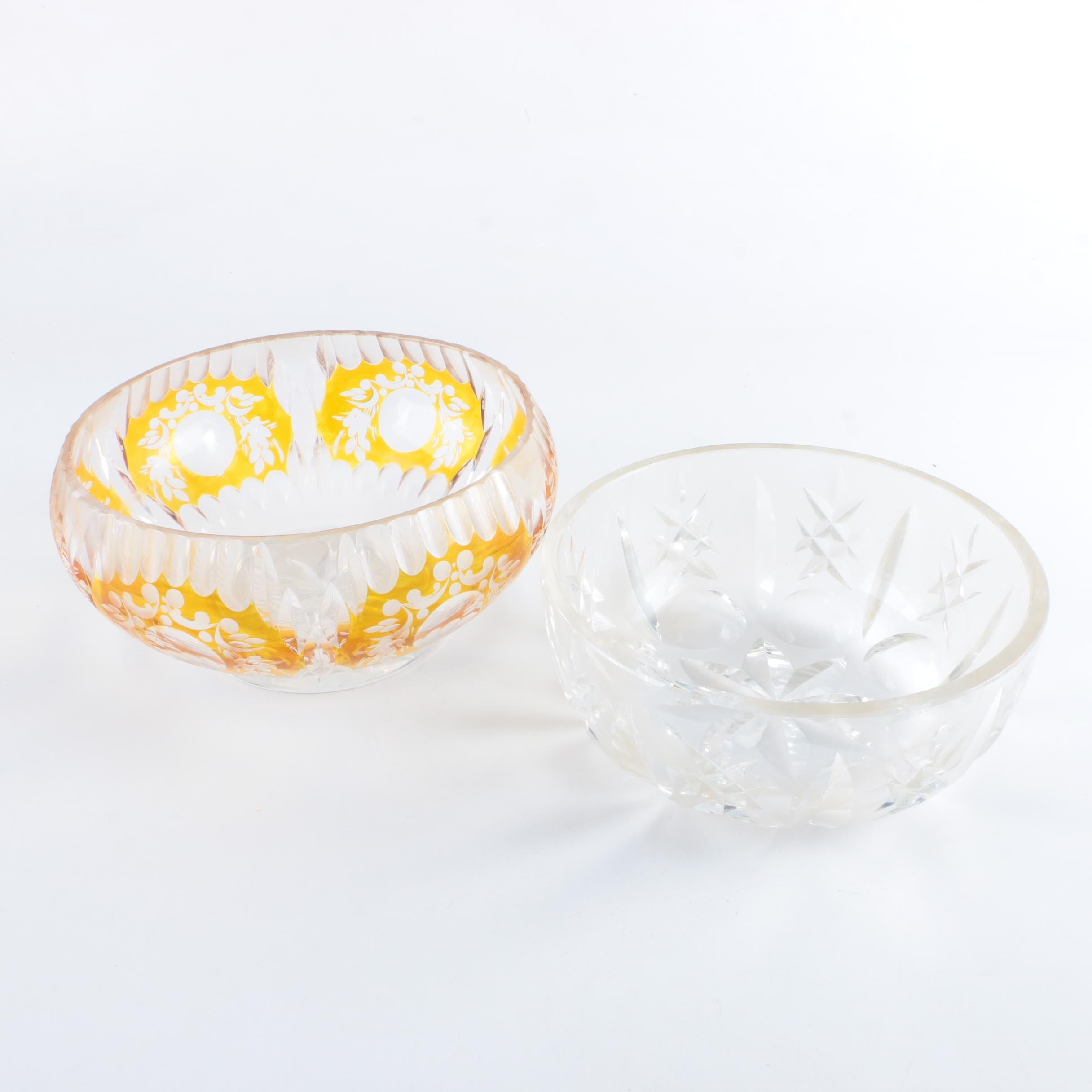 Bohemian Style Amber Cut to Clear with Glass Bowls