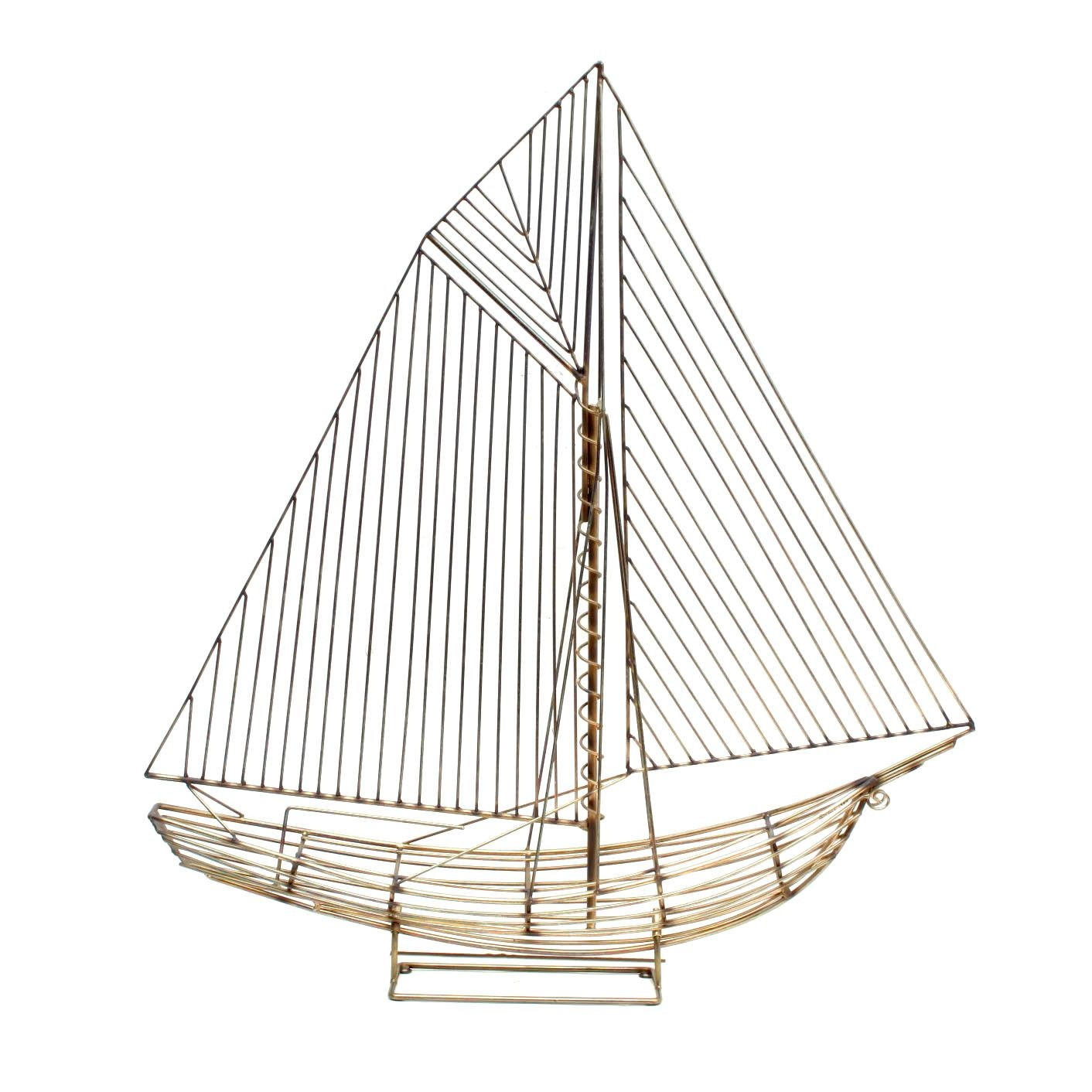 Curtis Jeré Brass Wireframe Sloop Ship Sculpture
