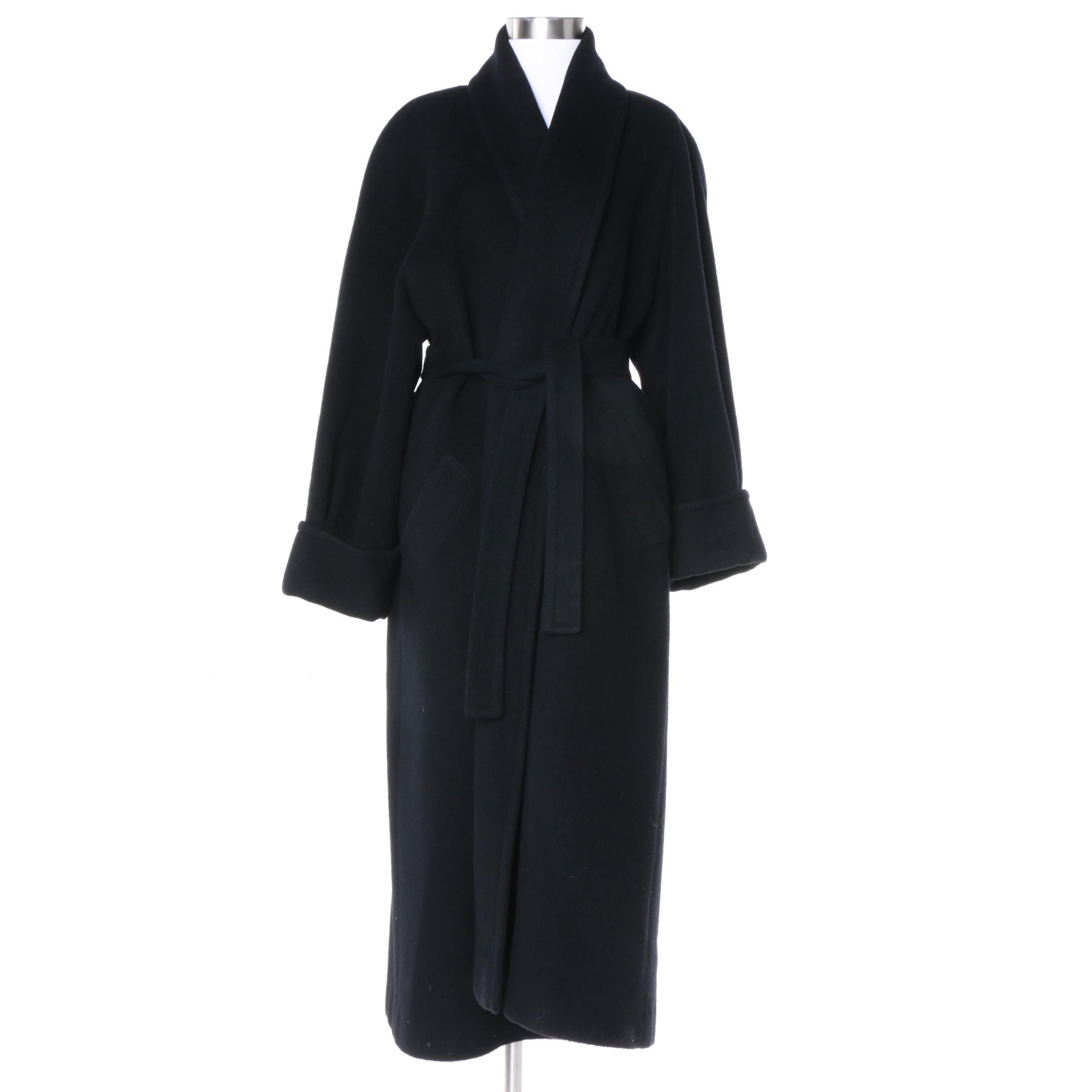 Vintage I. Magnin Black Cashmere Overcoat