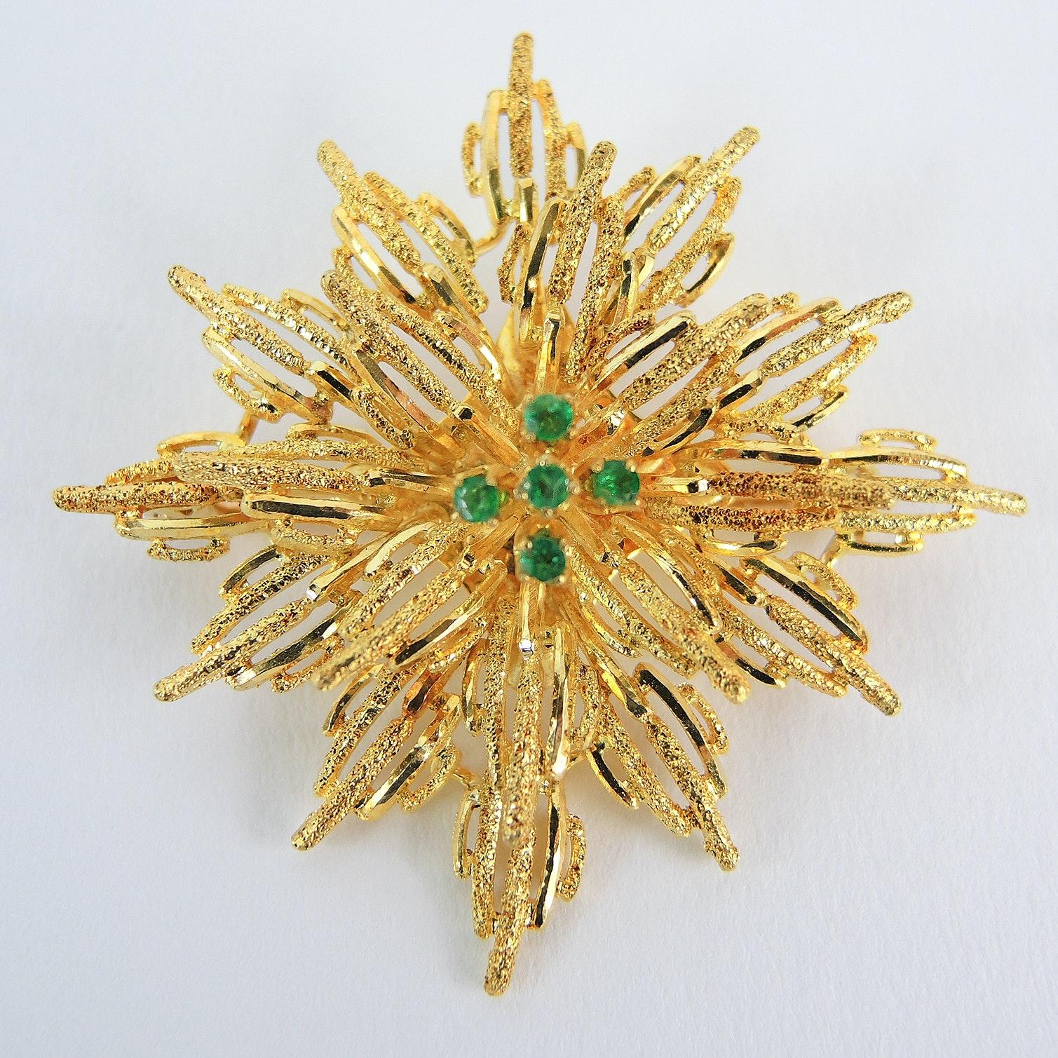 18K Yellow Gold Emerald Brooch