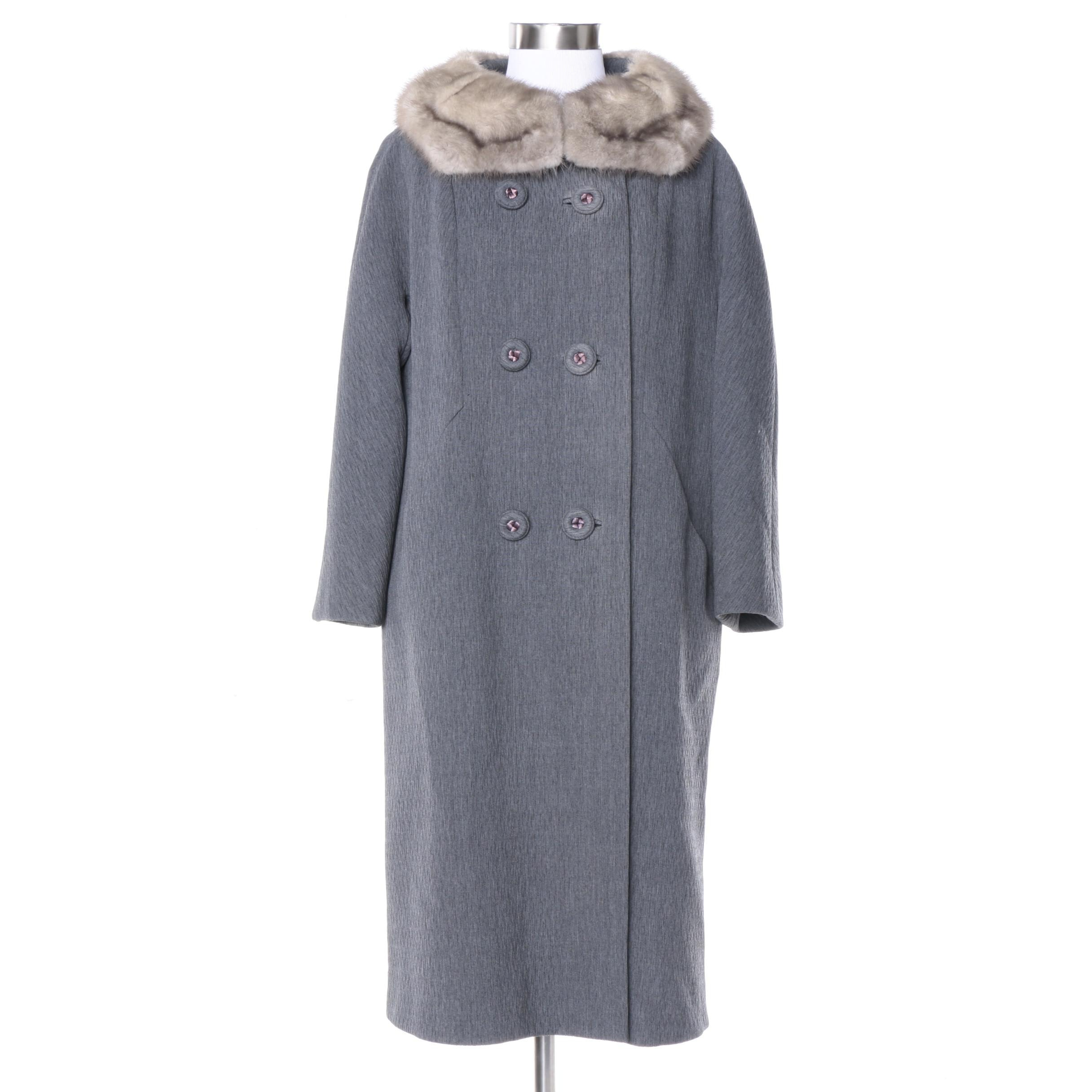 Vintage Double-Breasted Grey Coat with Grey Mink Collar