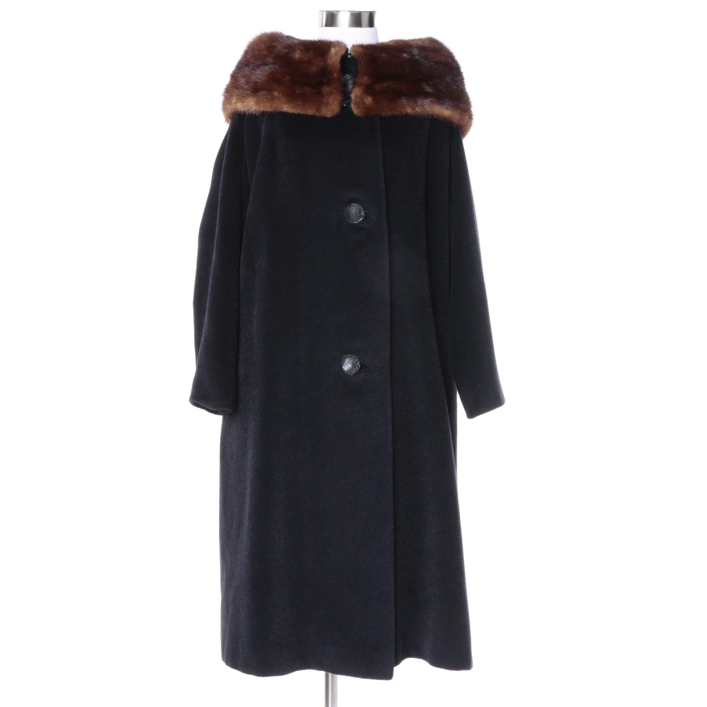1950s Vintage Black Wool Coat with Brown Mink Fur Collar
