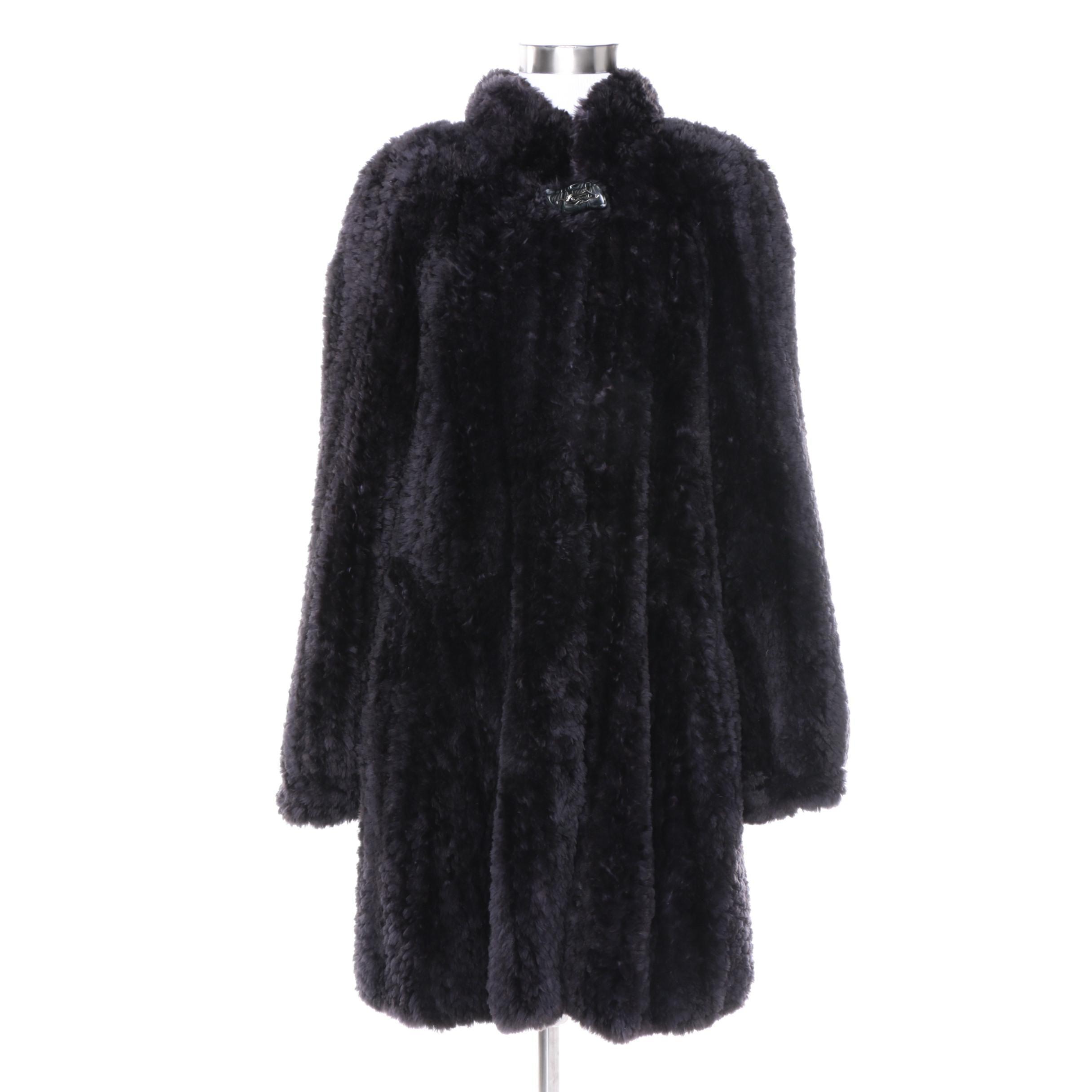Paula Lishman Knit Fur Dyed Black Beaver Fur Coat