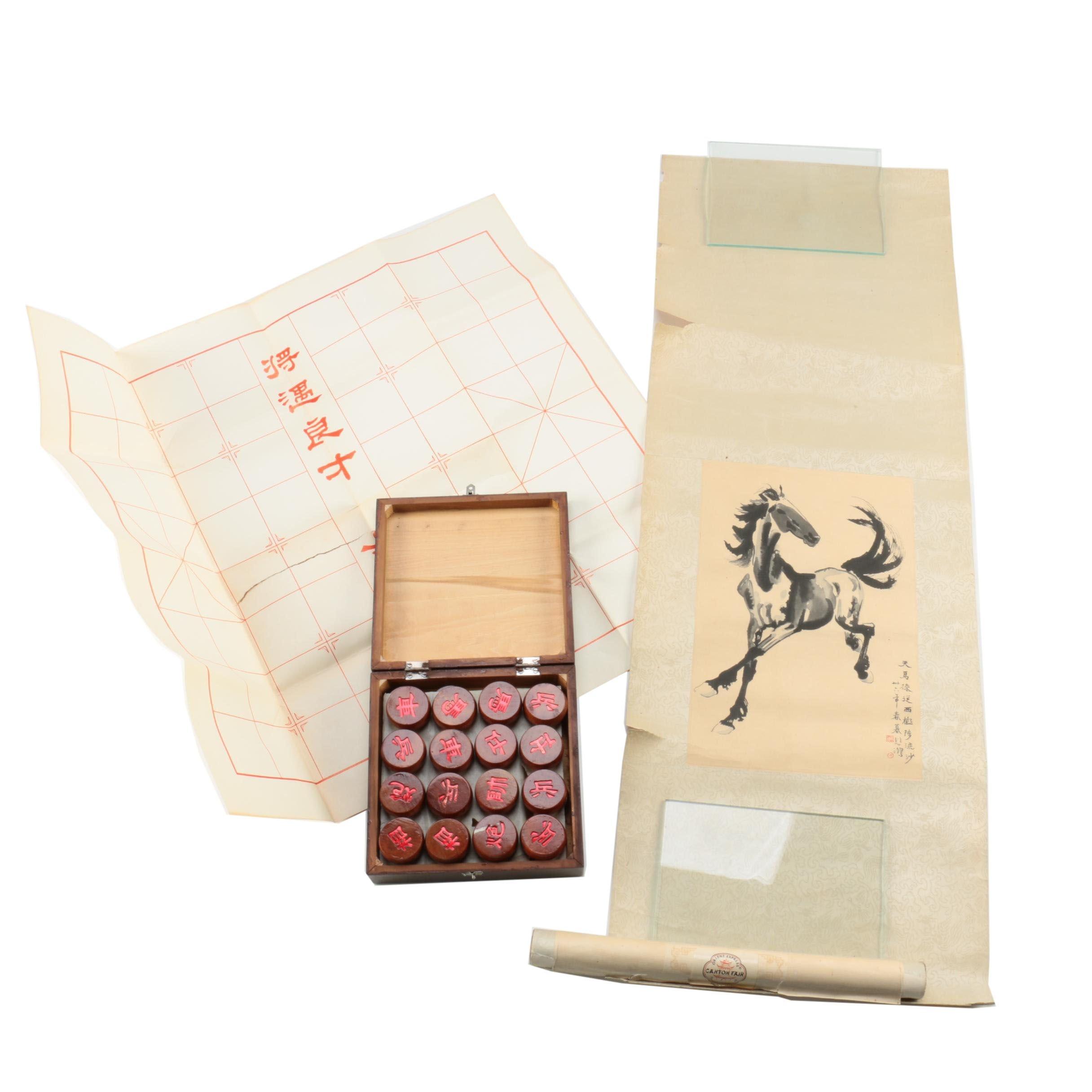 Hanging Scroll After Xu Beihong and Xiang Qi Game