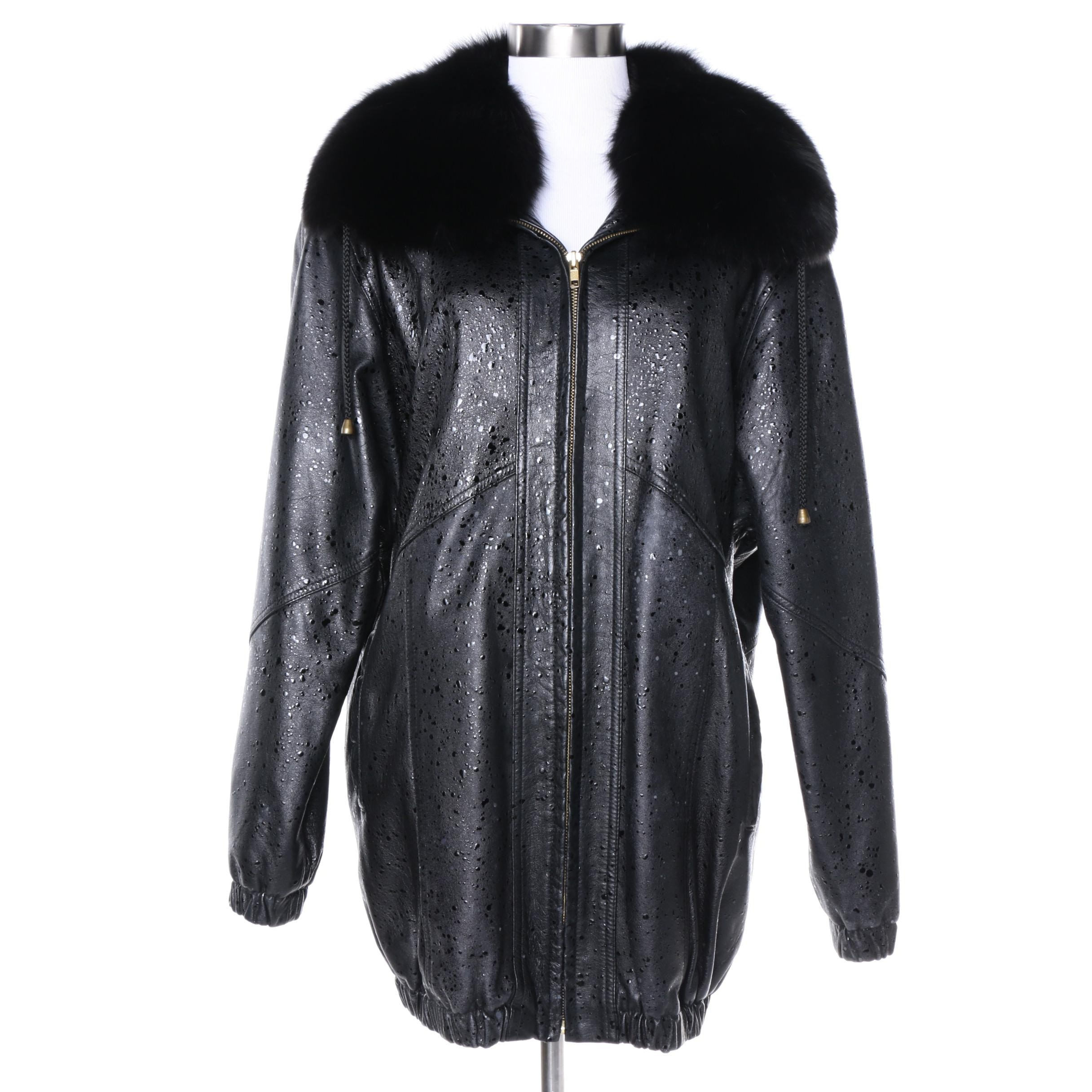 Day Furs Black Leather Coat with Dyed Black Fox Fur Collar