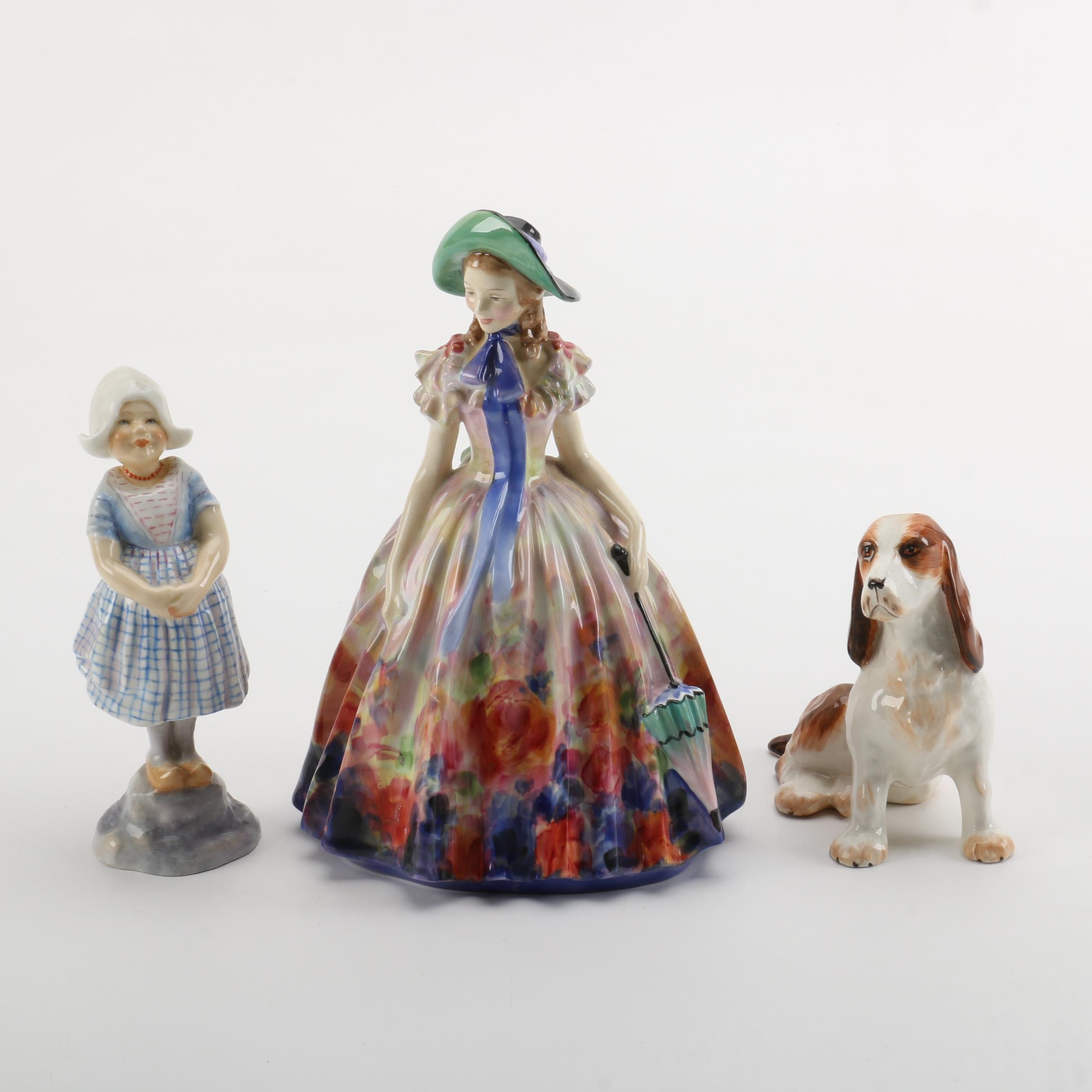 "Figurines including Royal Doulton ""Easter Day"" and Royal Worcester"