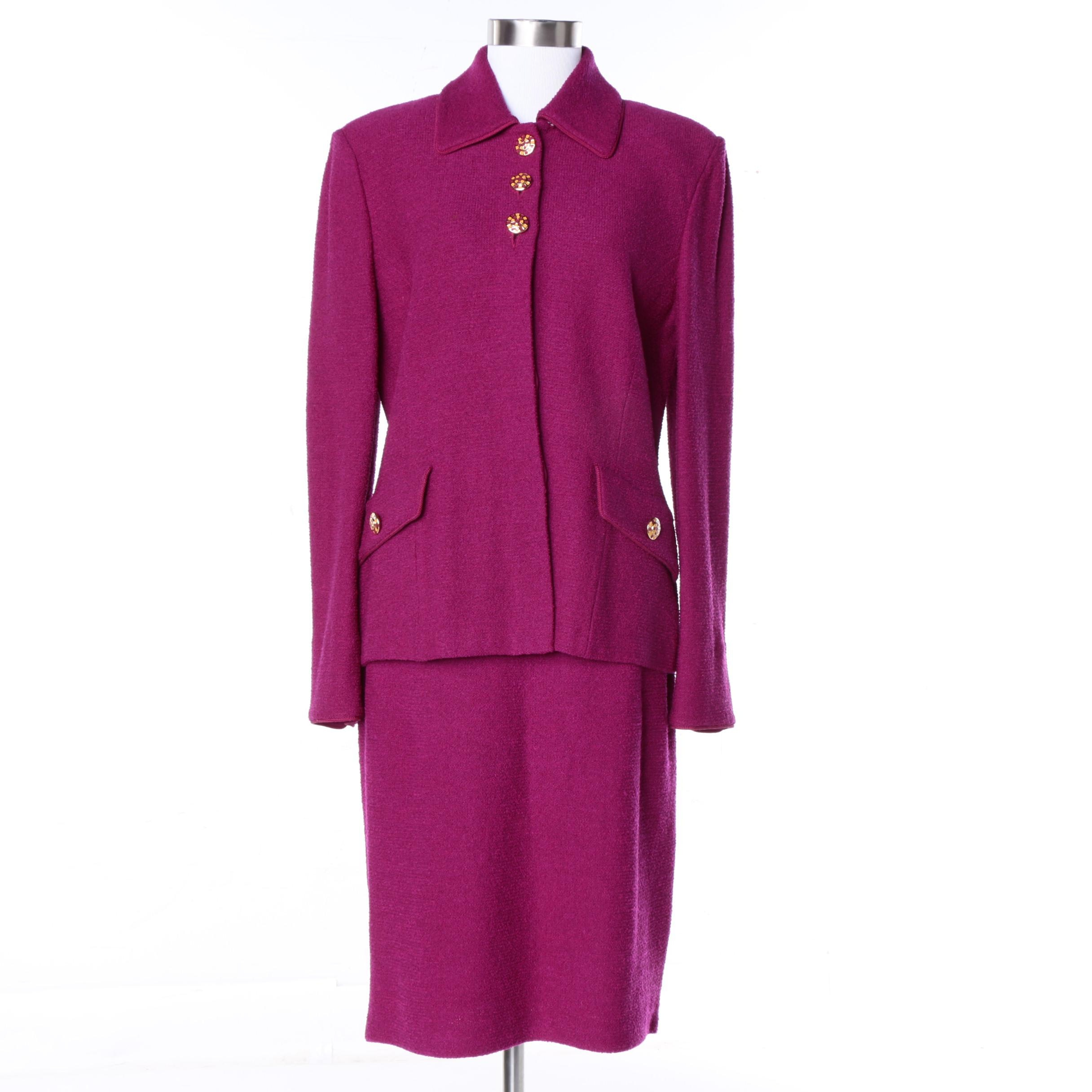 St John Collection by Marie Gray Knit Skirt Suit in Fuschia