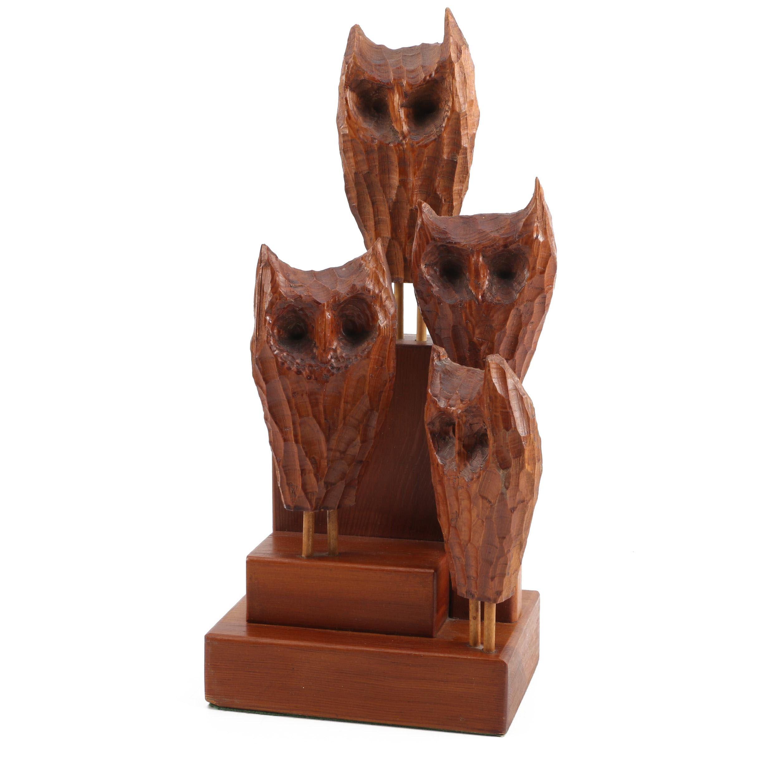 Mid Century Qulleson Wooden Sculpture of Owls