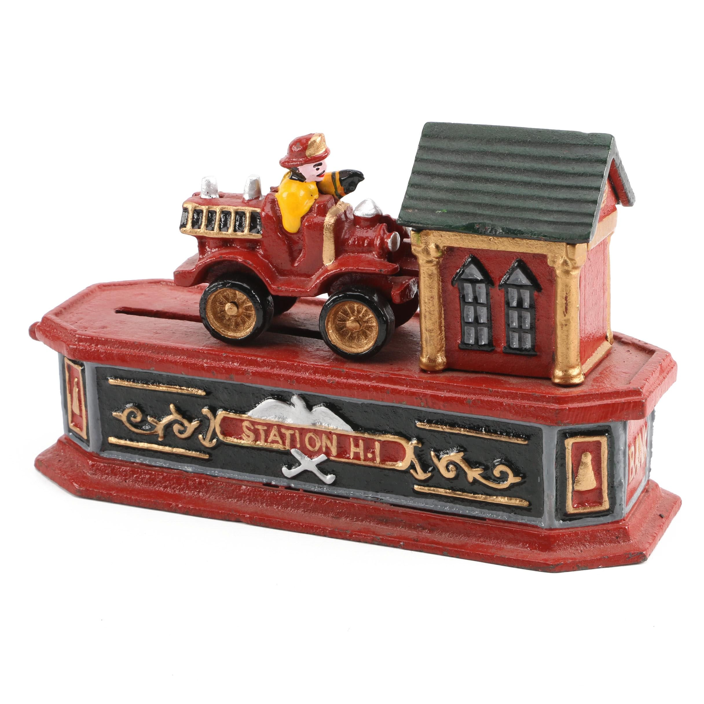 Vintage Cast Iron Fire Engine Mechanical Bank