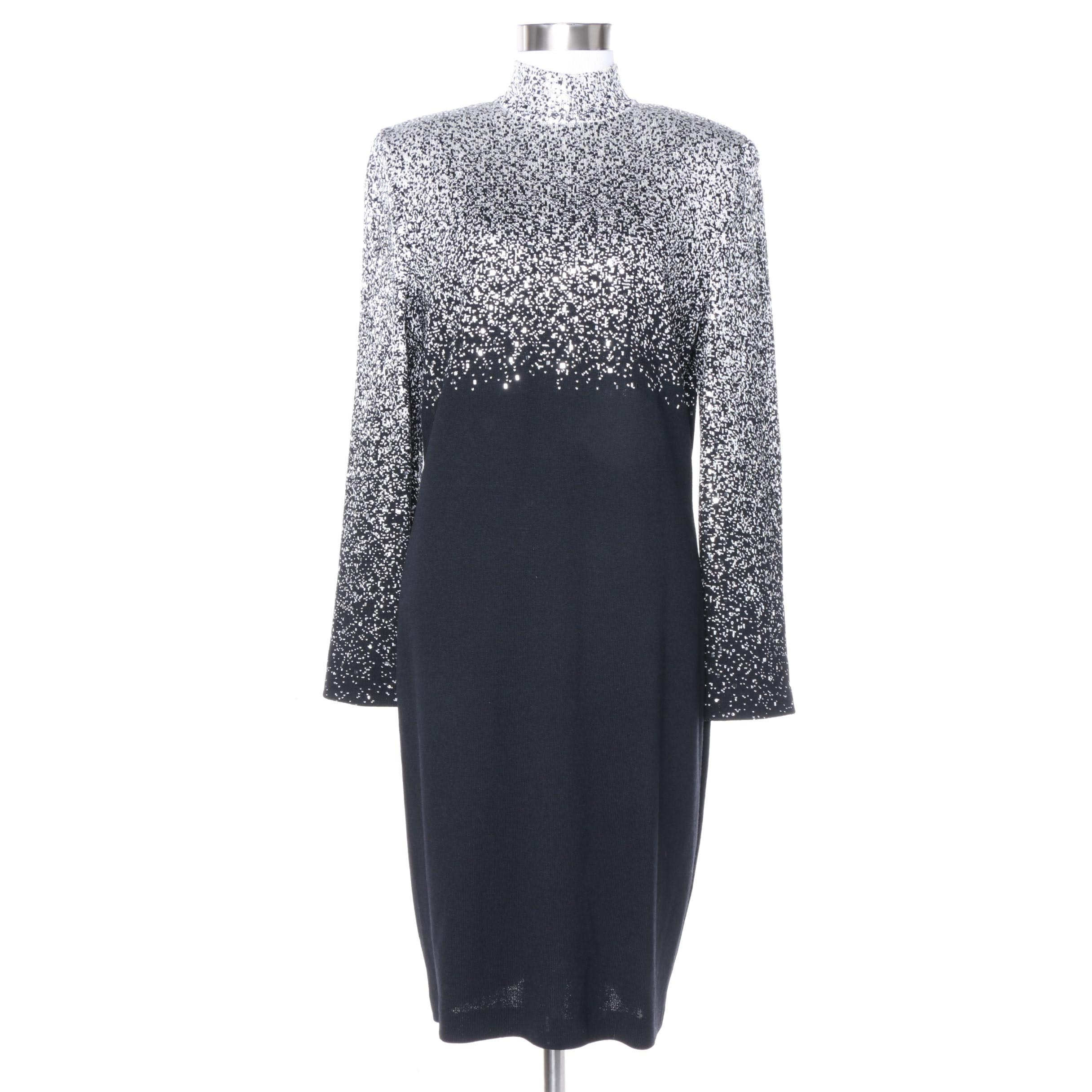 St. John Evening Embellished Knit Cocktail Dress