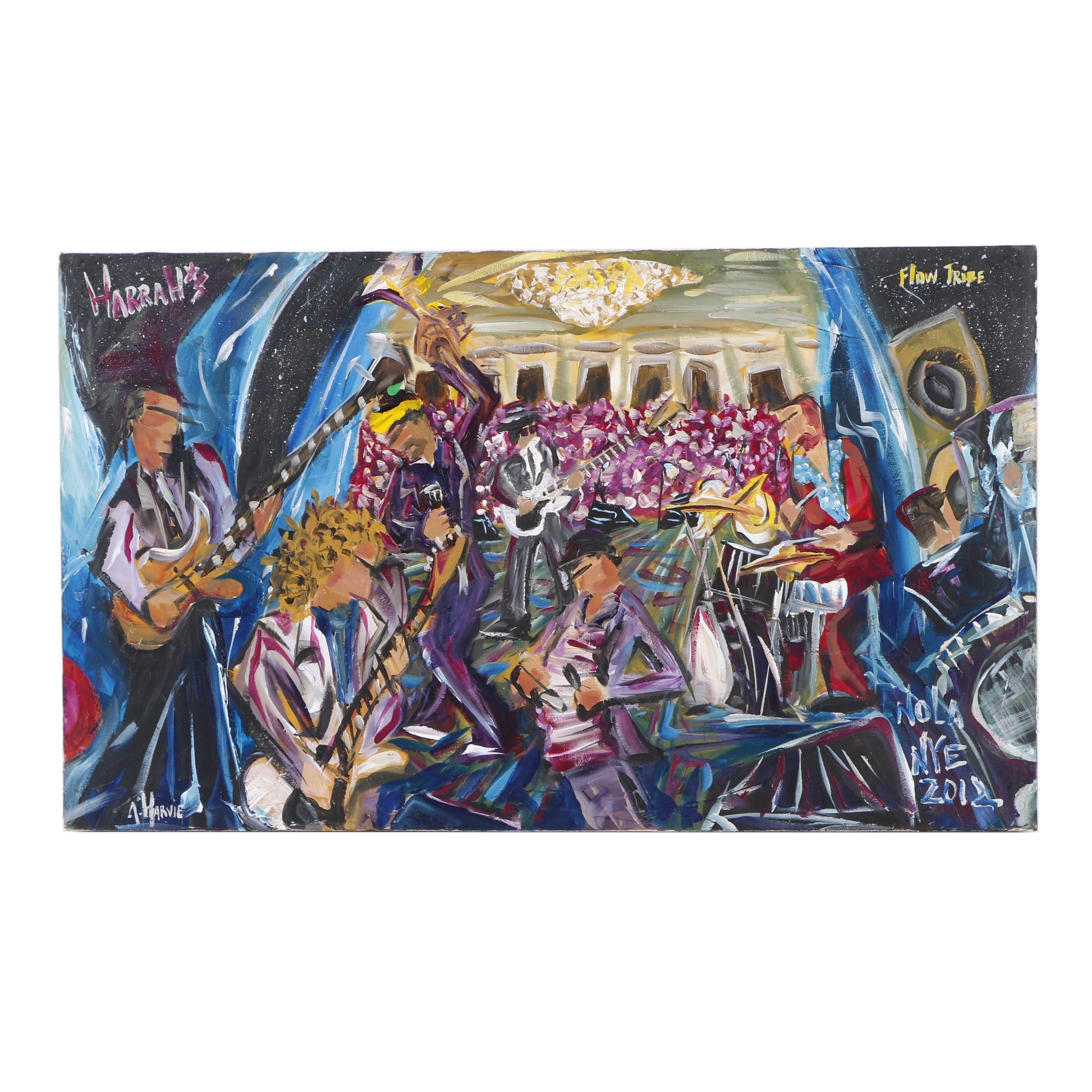 "Alexander Harvie Oil Painting ""Nola NYE 2012"""