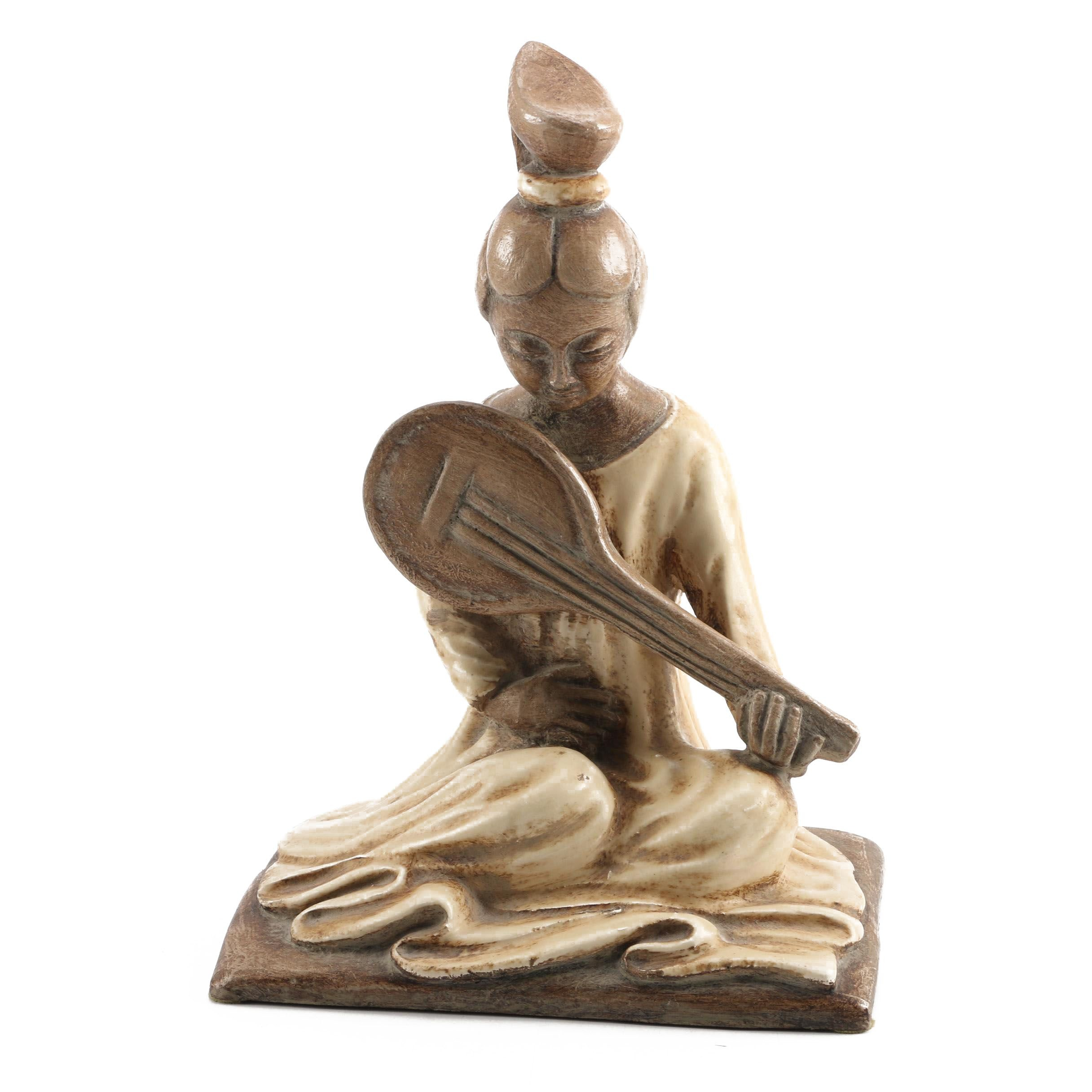 Chinese-Inspired Sculpture with Mandolin