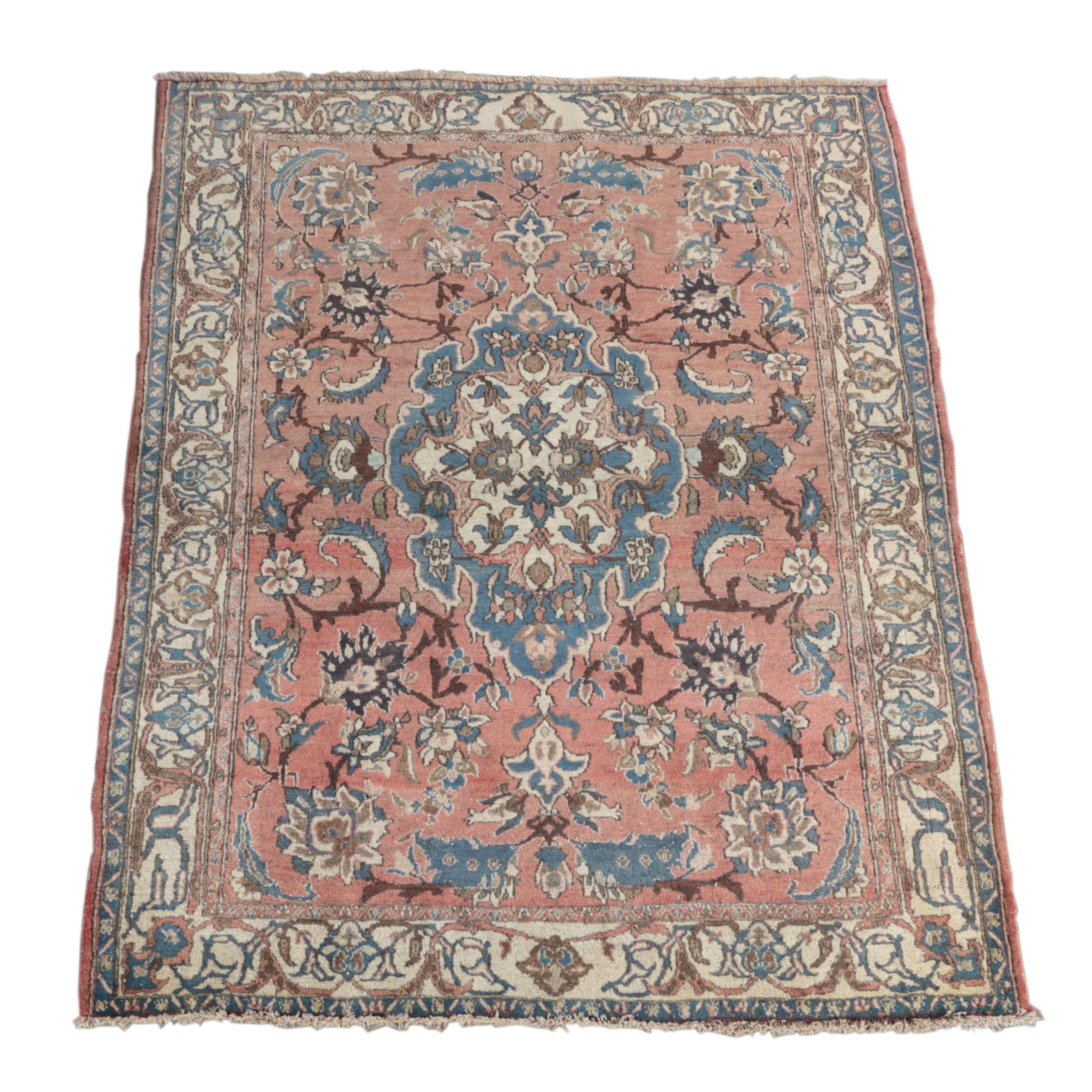 Semi-Antique Hand-Knotted Kurdish Bijar Wool Area Rug