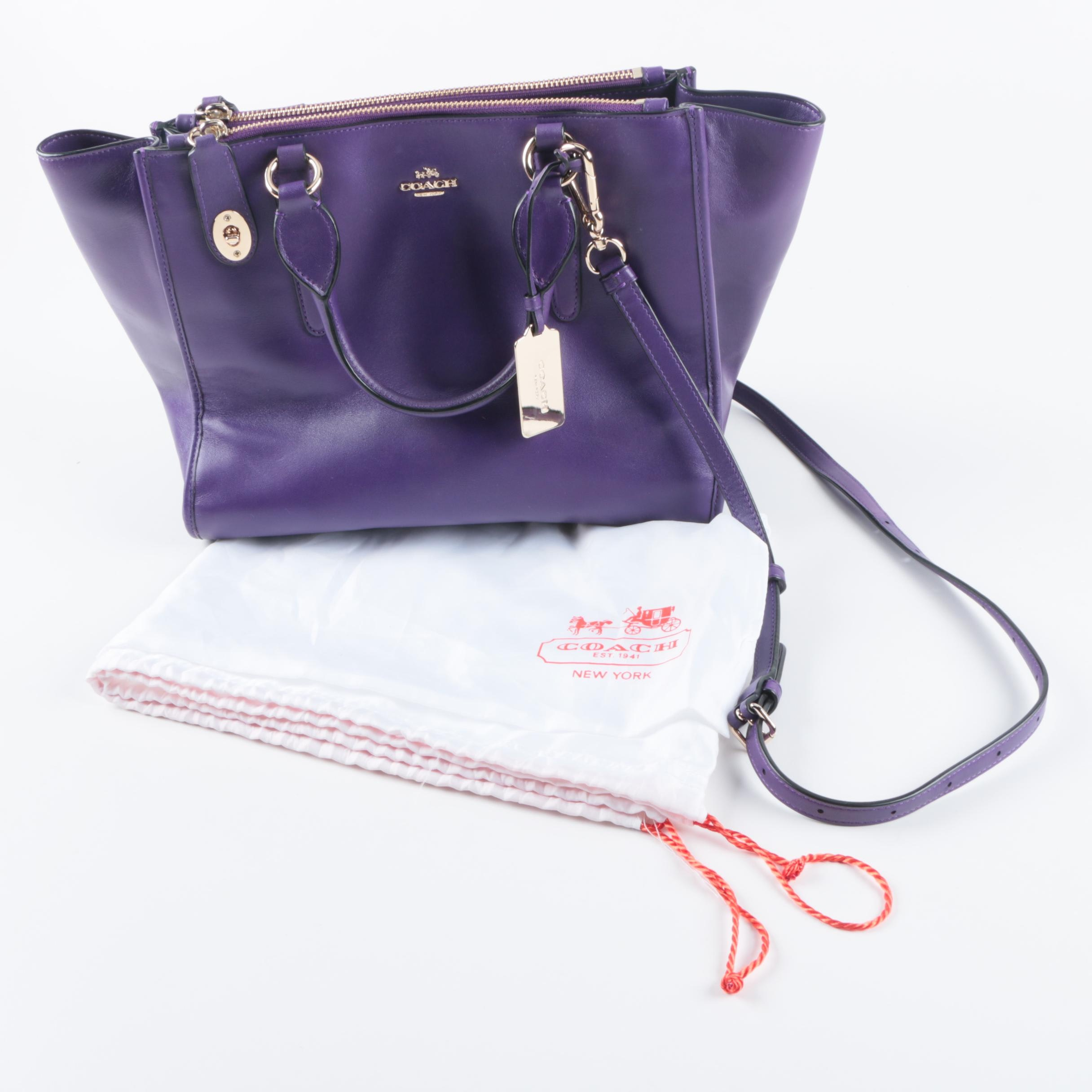 Coach Purple Leather Crosby Convertible Carryall