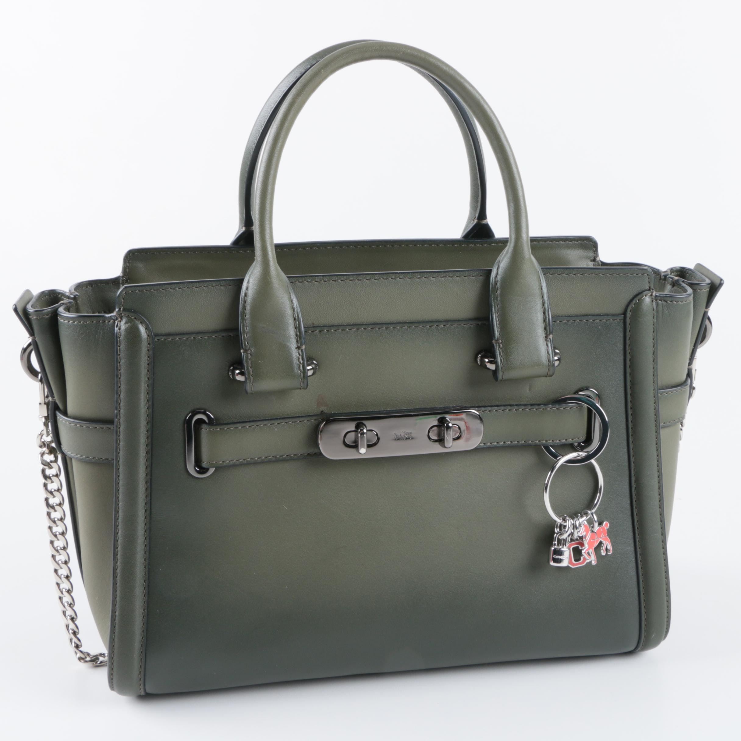 Coach Burnished Green Leather Swagger Satchel