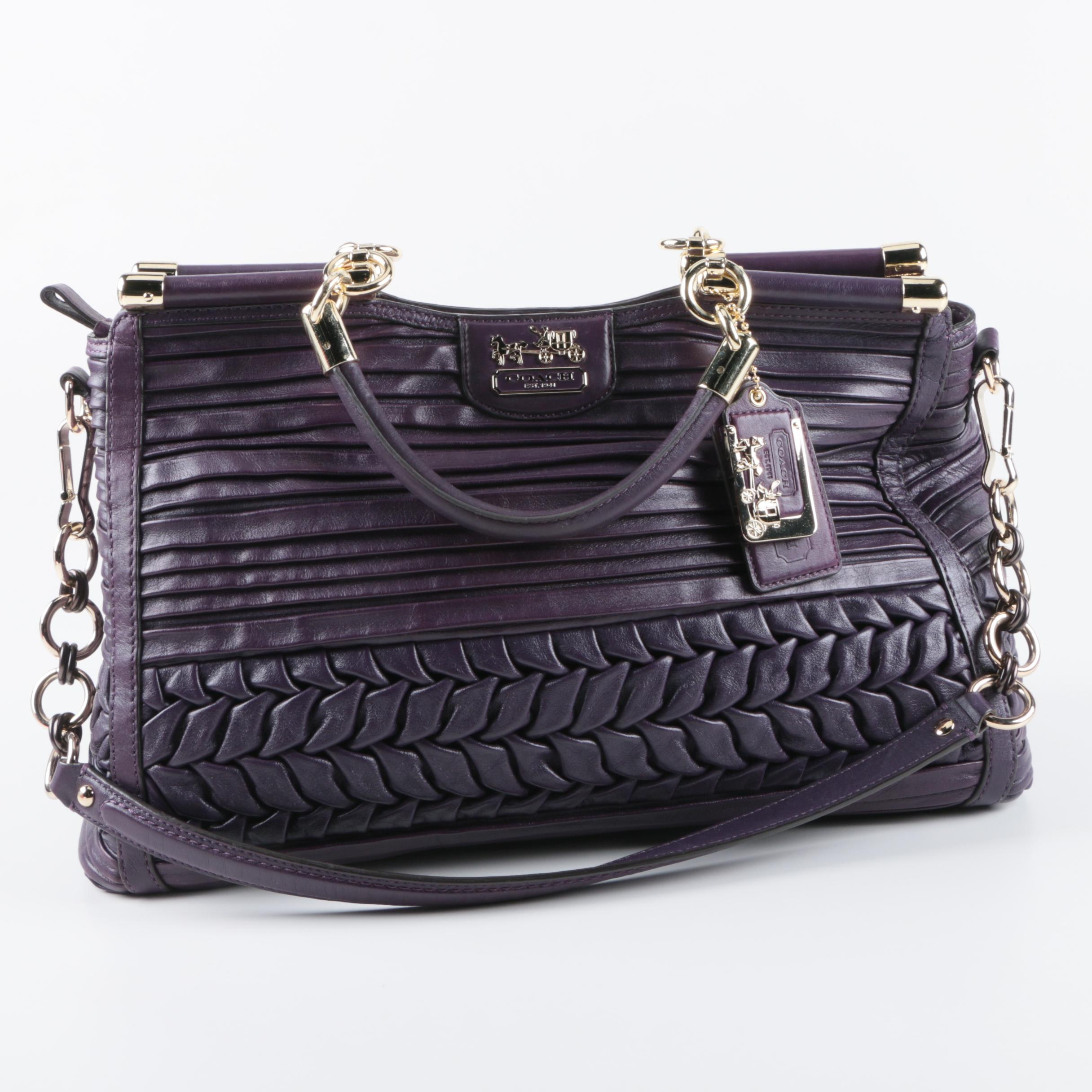 Coach Caroline Pleated and Gathered Purple Leather Handbag