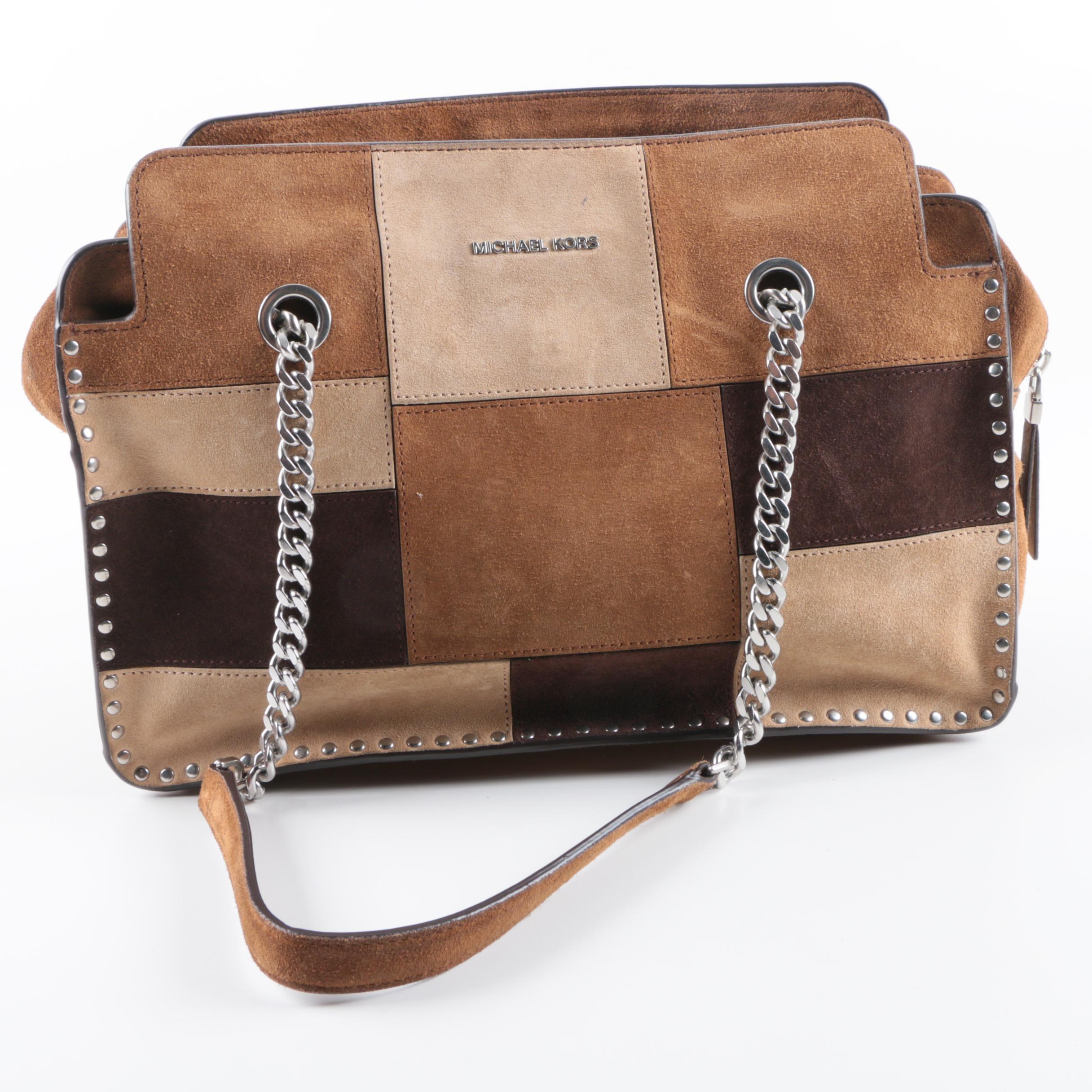 Michael Michael Kors Patchwork Suede Shoulder Bag
