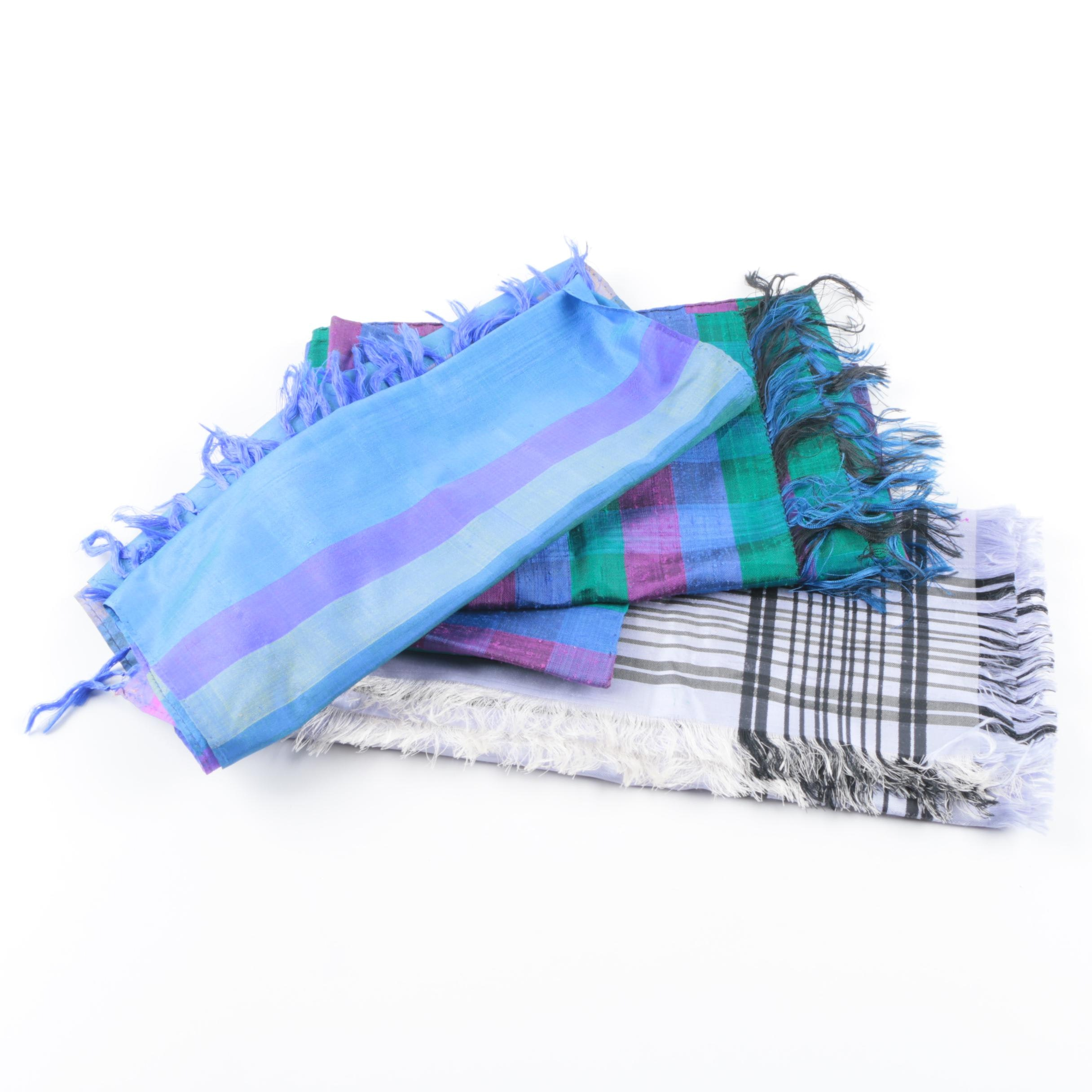 Plaid Scarves Including a Pure Silk Scarf, Hand-Loomed in India