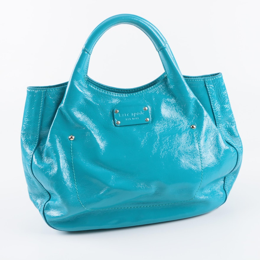 Kate Spade New York Aqua Blue Patent Leather Handbag