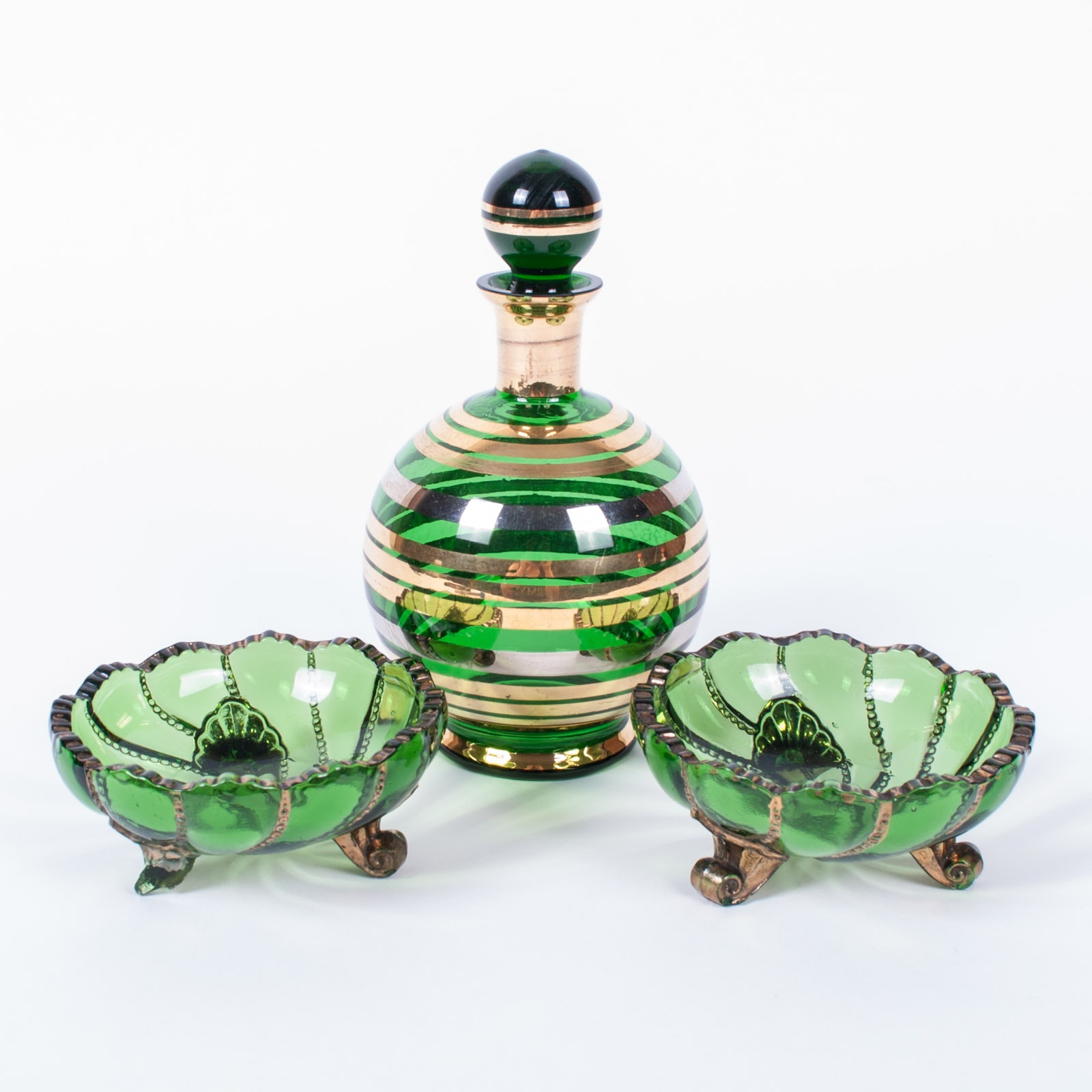 Vintage Green and Gold Glass Dishes with Decanter