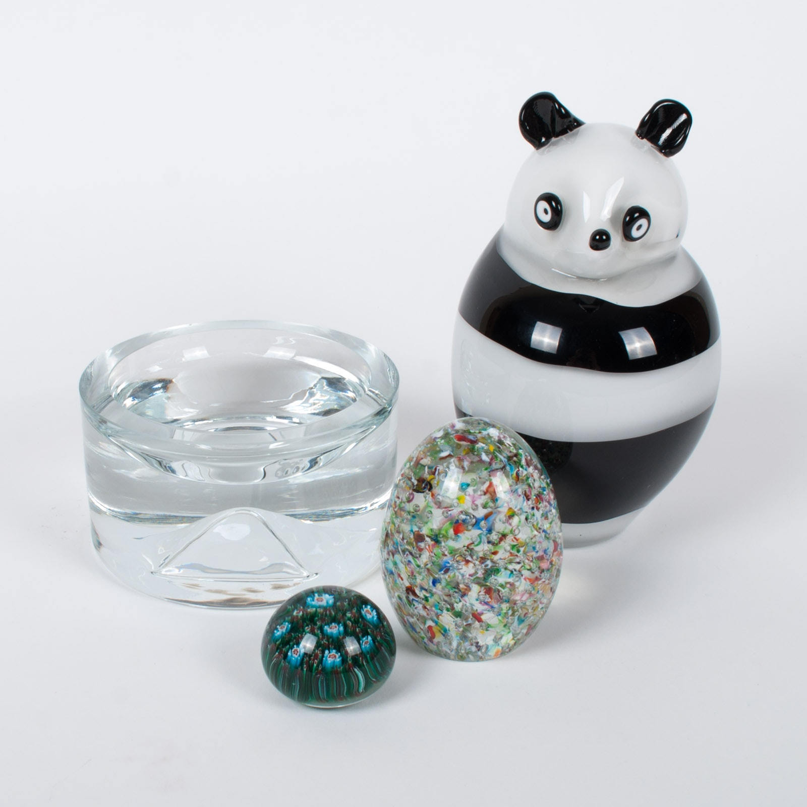 Bisazza Vetro Murano Art Glass Panda and Paperweights
