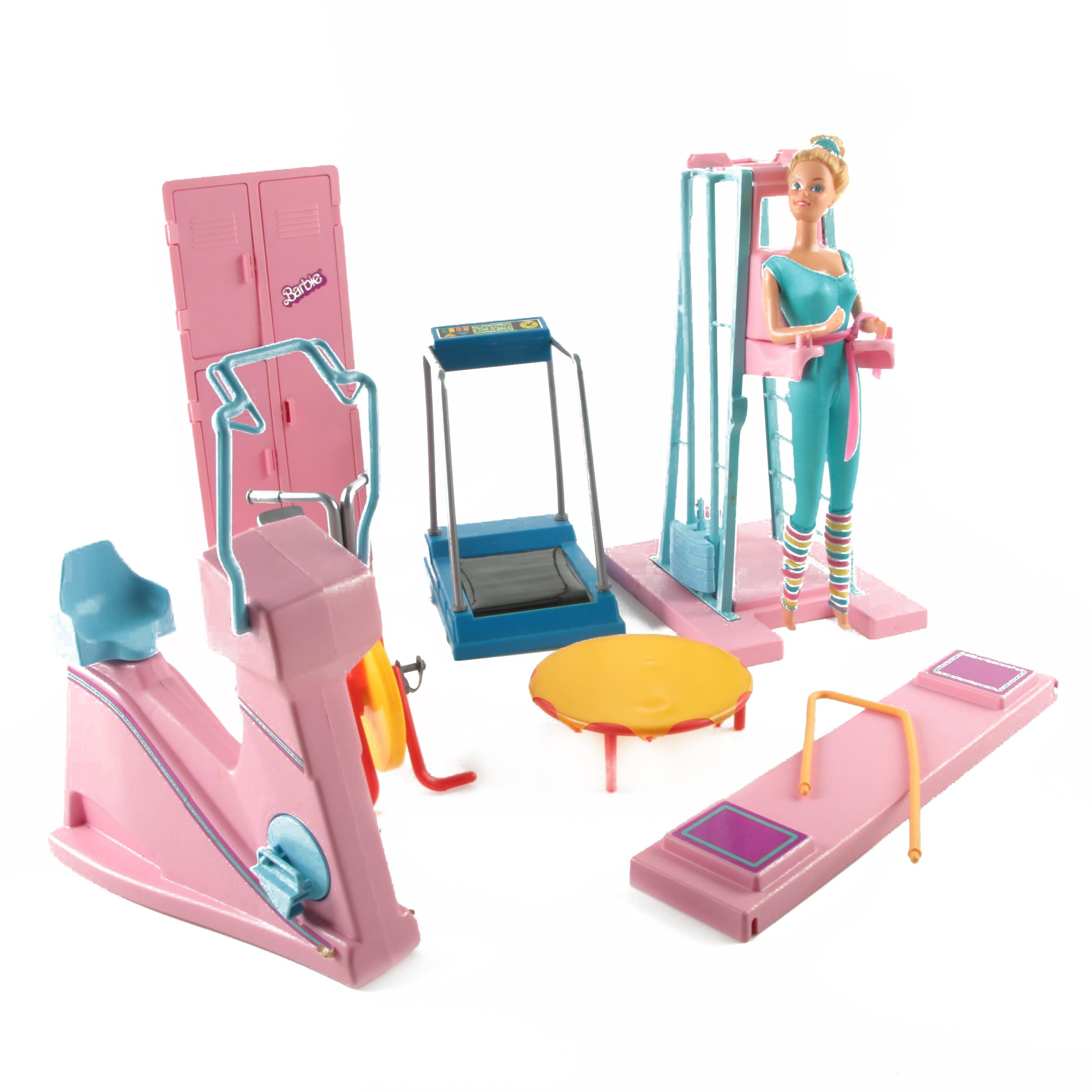 "1980s ""Great Shape Barbie"" Doll and Barbie Exercise Equipment"