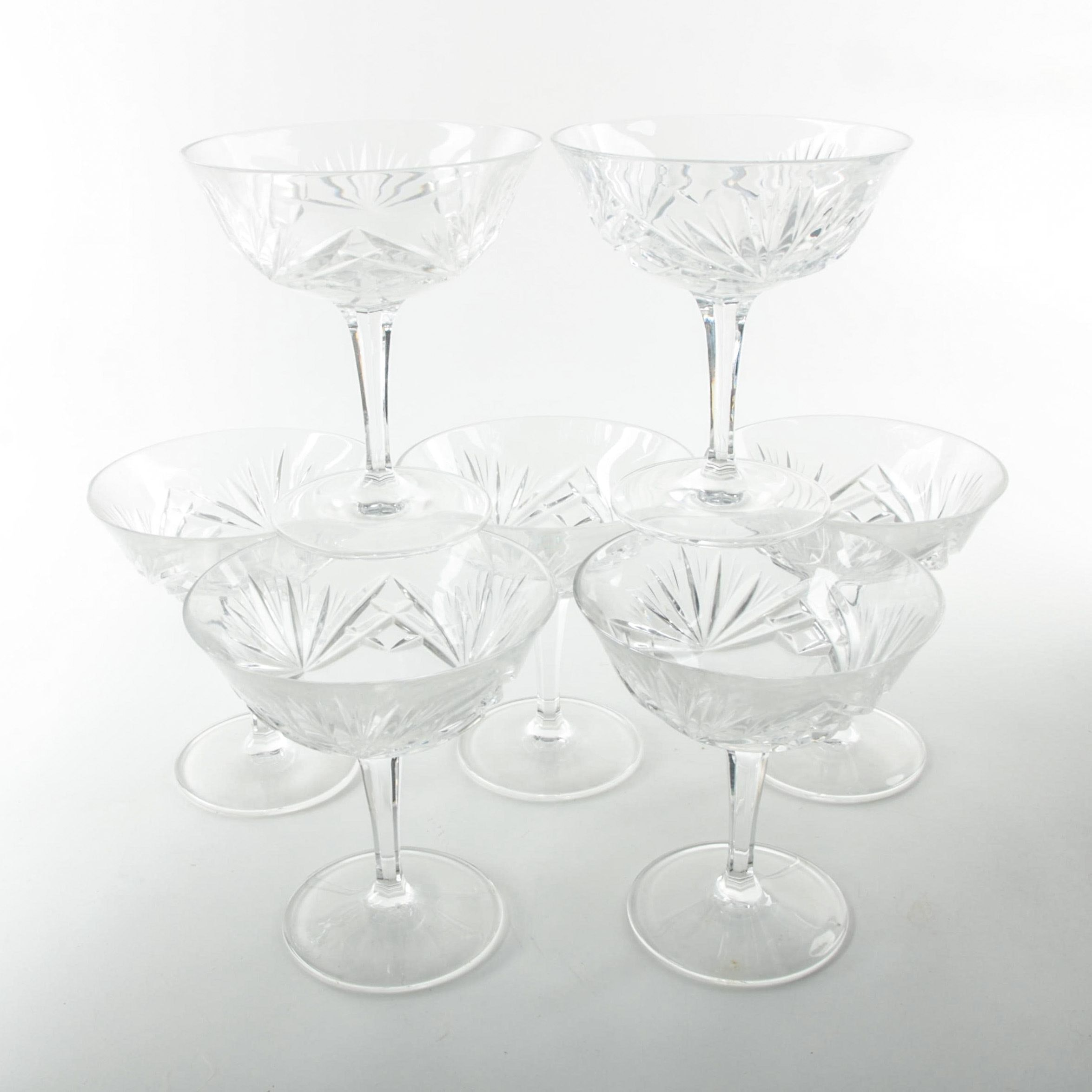 """Gorham """"Cherrywood"""" Clear Crystal Champagne Coupes"""