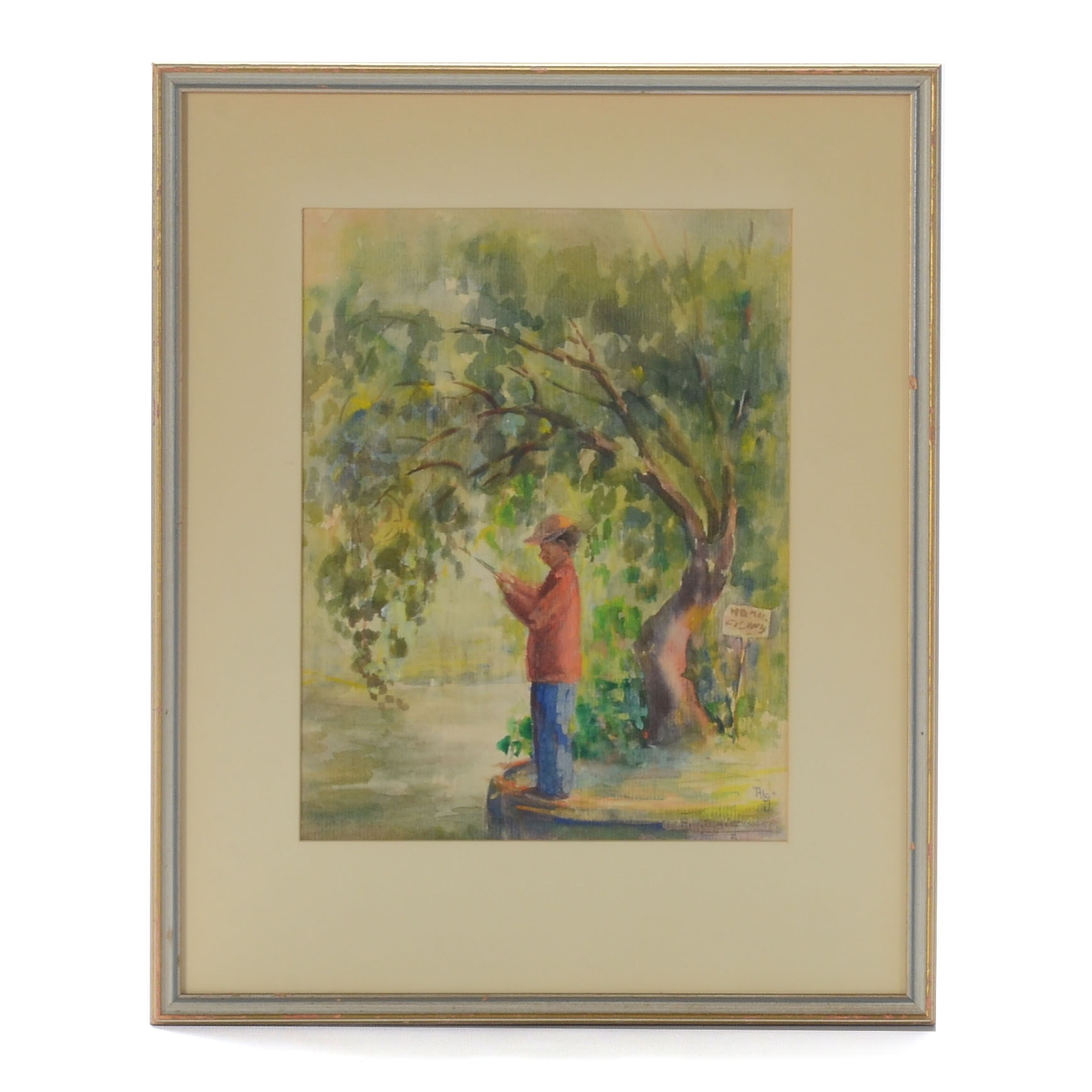 A. Schlesinger Original Watercolor Painting of Man Fishing