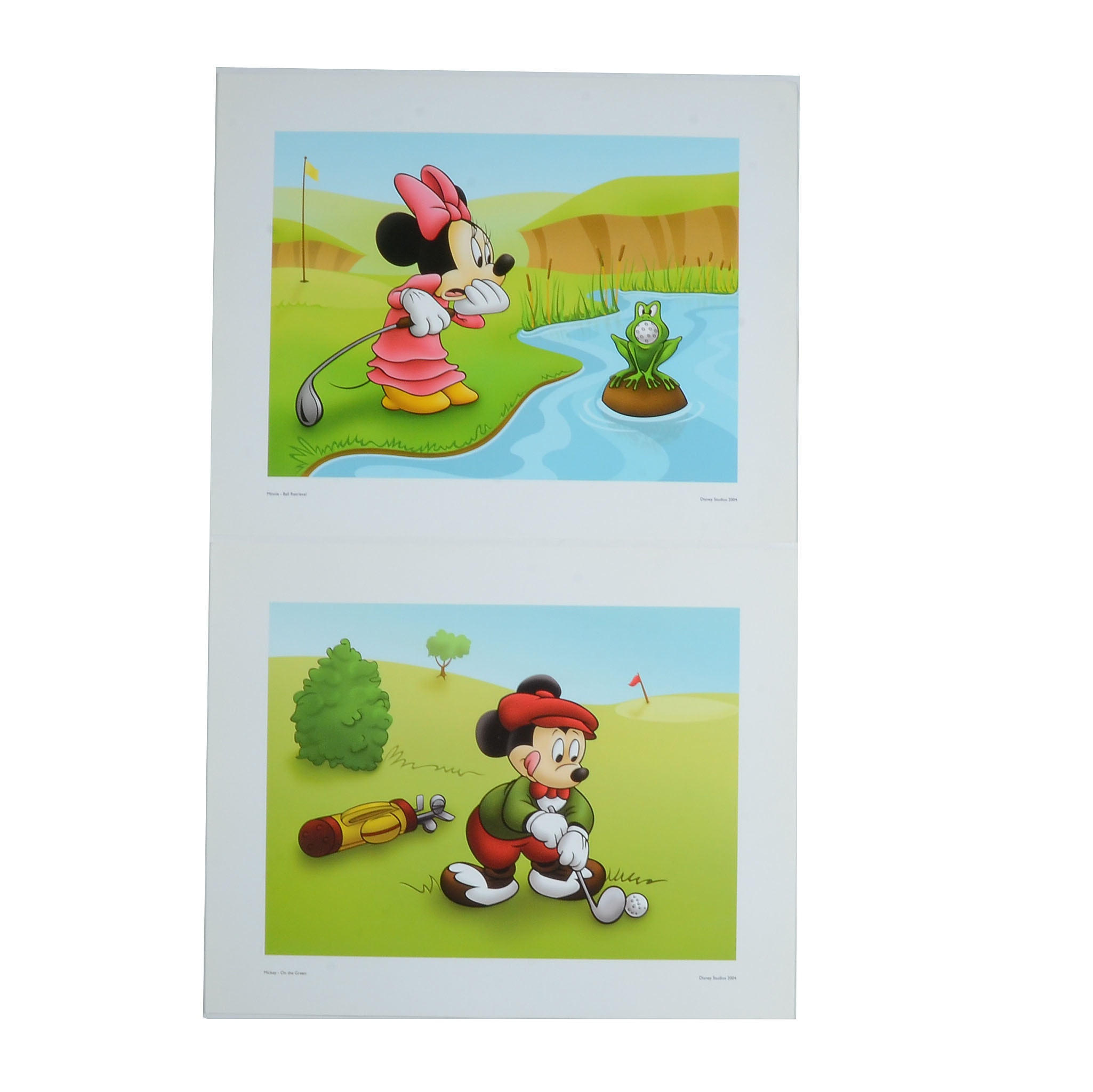 Two Offset Lithograph Posters of Micky and Minnie Mouse Playing Golf