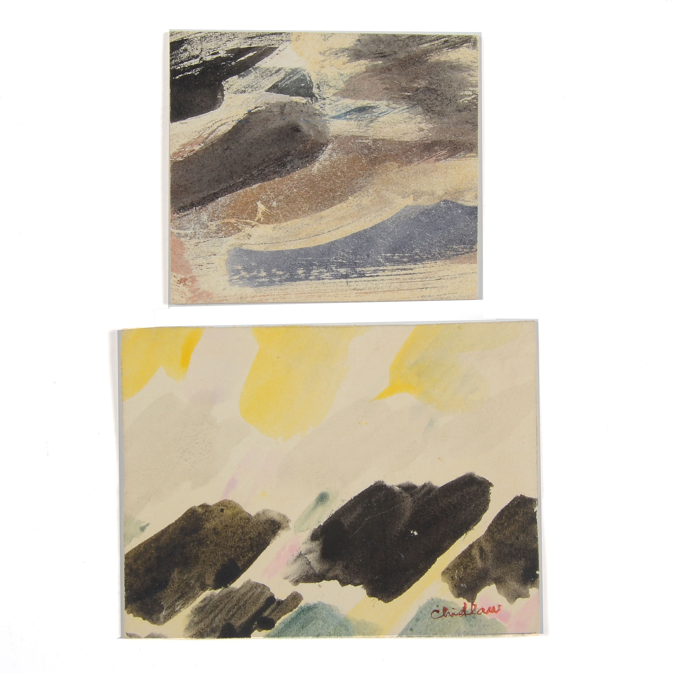 Paul Childlaw Two Miniature Abstract Paintings on Paperboard