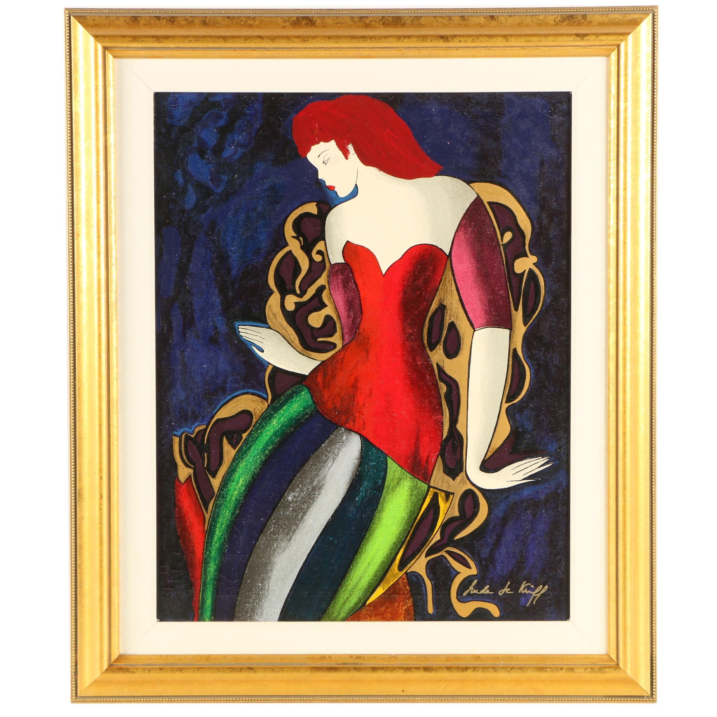 "Linda Le Kinff Embellished Serigraph ""Soiree Reussie"""