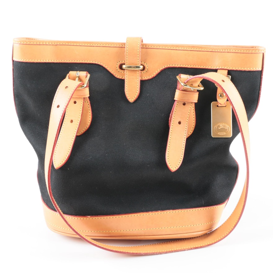 0b92f557b447 Dooney   Bourke Black Canvas and Leather Shoulder Bag   EBTH
