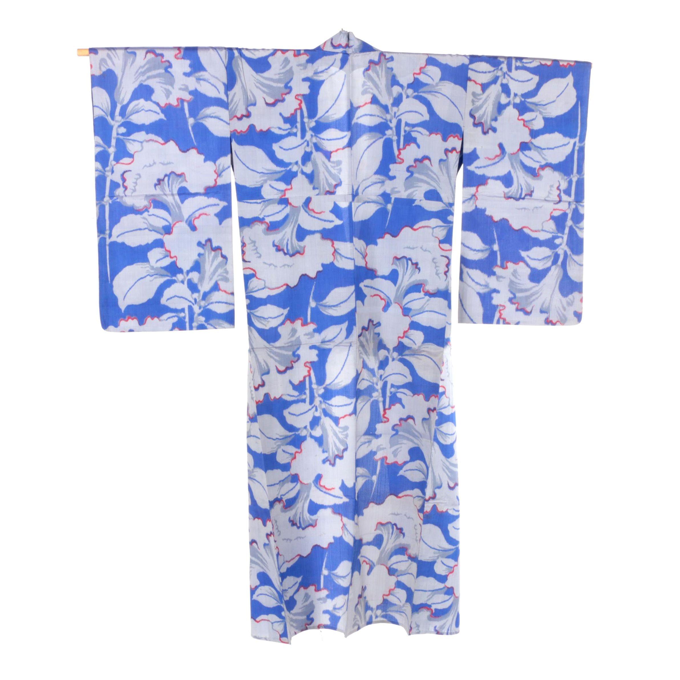 Circa 1930s Vintage Japanese Handwoven Silk Ikat Kimono