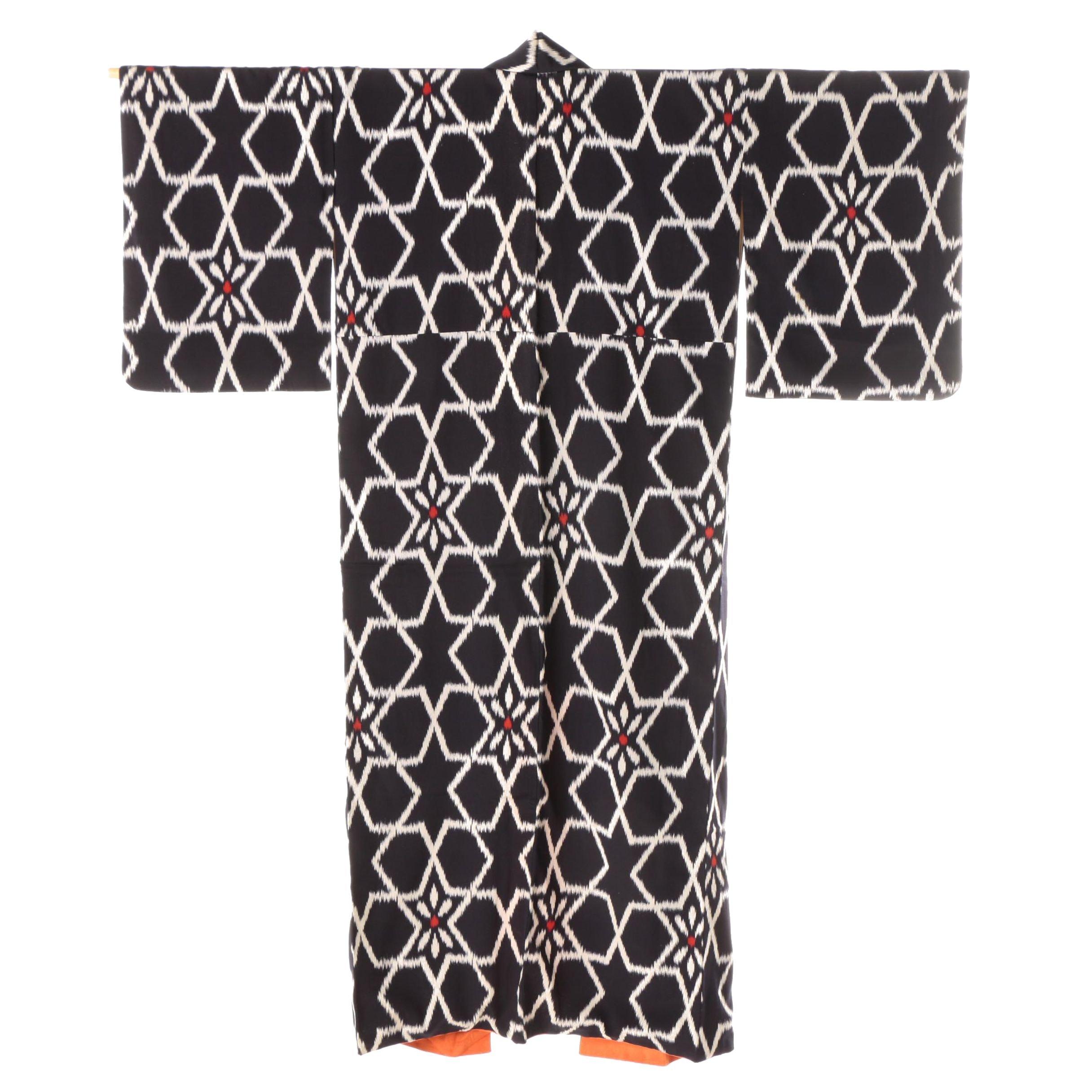 Circa 1940s Vintage Japanese Handwoven Silk Ikat Kimono