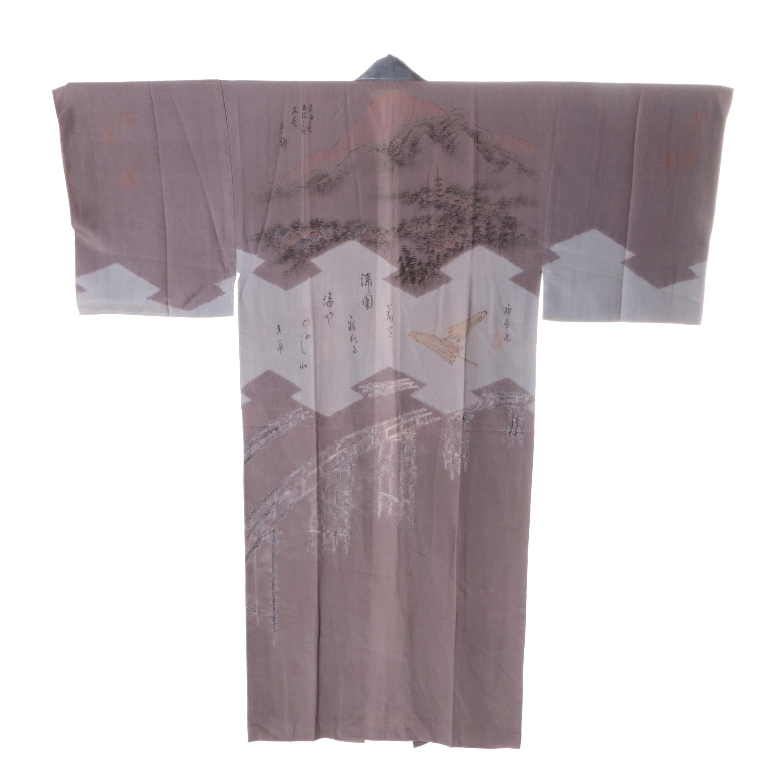Men's Circa 1900s Antique Japanese Handwoven Silk Juban Kimono