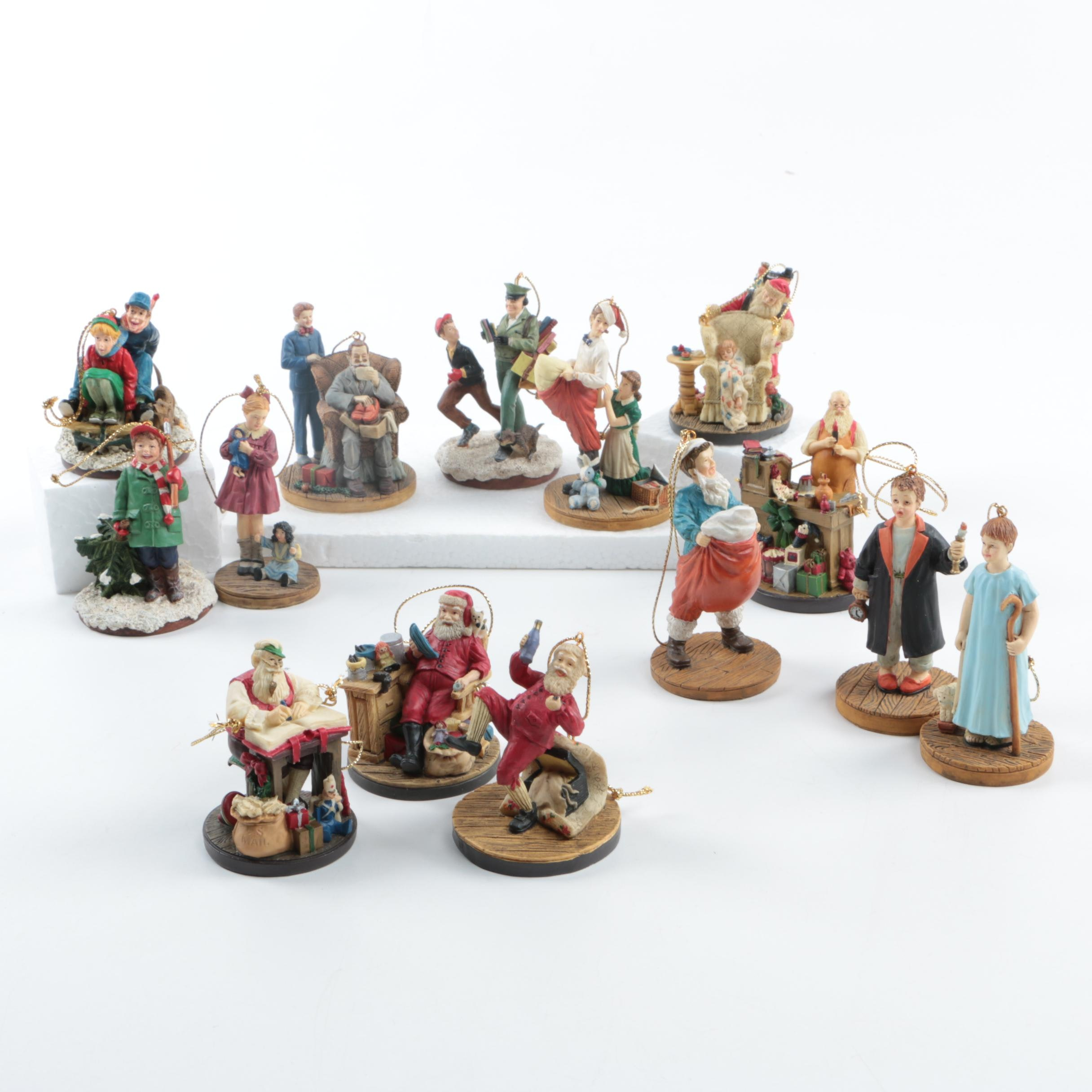 "Bradford Exchange Norman Rockwell ""Celebration of Christmas"" Ornaments"