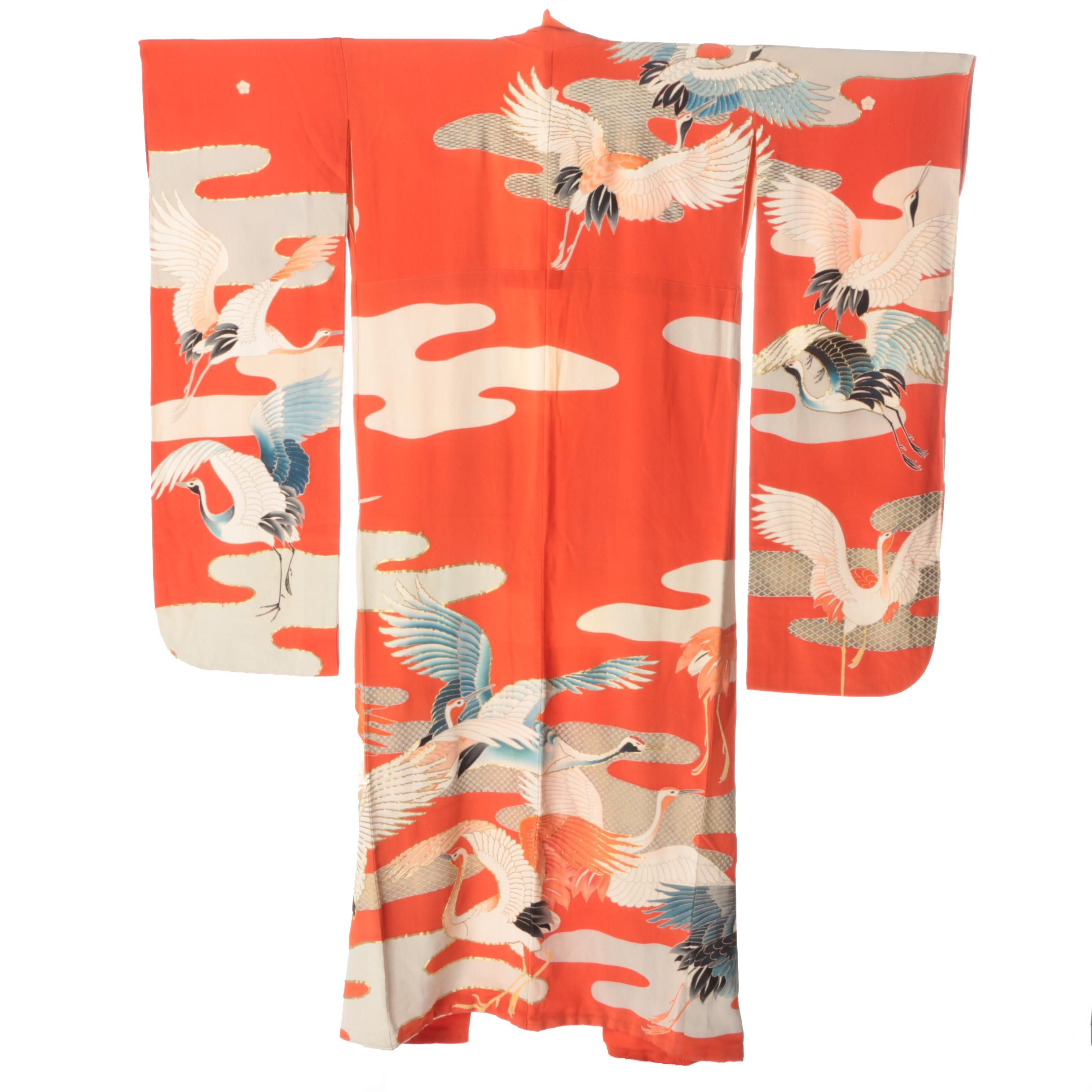 Circa 1910s Antique Japanese Silk Formal Crested Kakashita Furisode Kimono