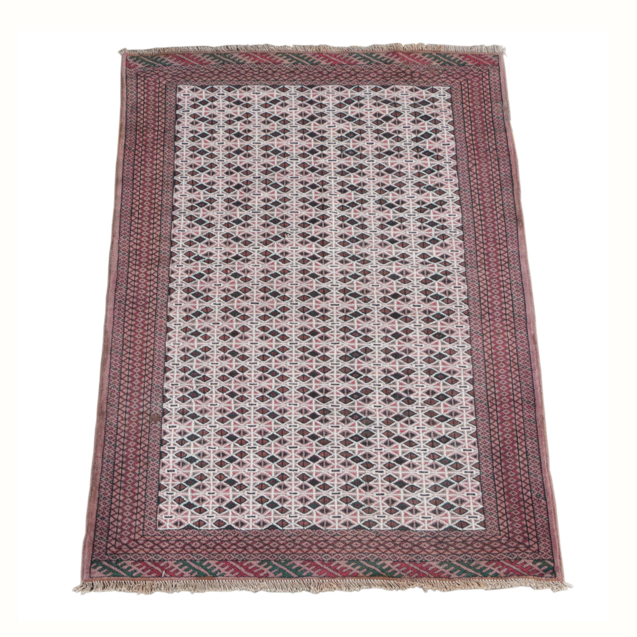 Hand-Knotted Persian Baluch Wool Area Rug