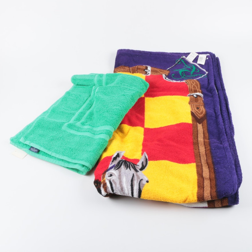 Ralph Lauren Blue Island Palmer Bath Mat And Equestrian Themed Beach Towel