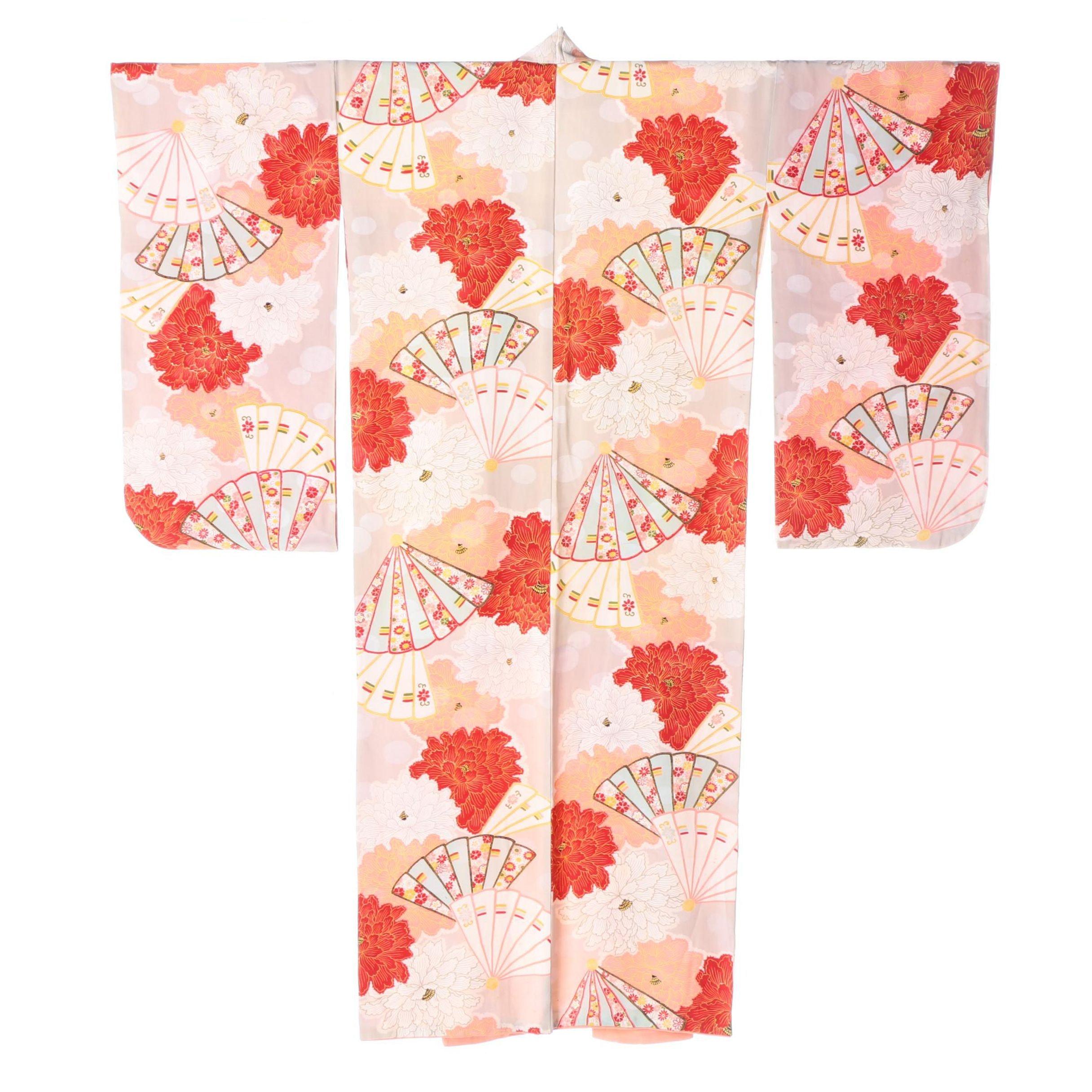 Circa 1910 Antique Japanese Handwoven Silk Crepe Kimono