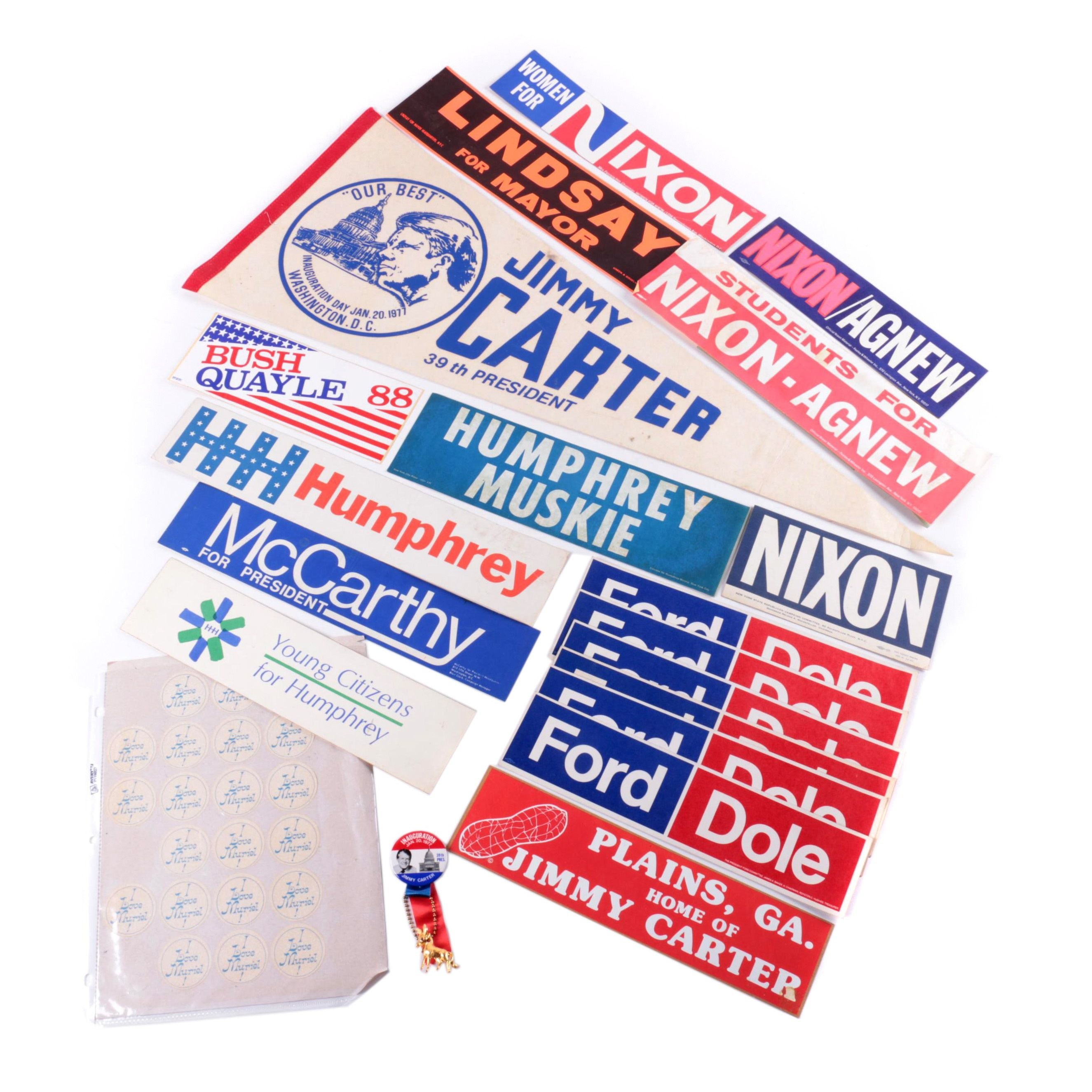 Vintage Presidential Campaign Stickers and Jimmy Carter Inaugural Pennant