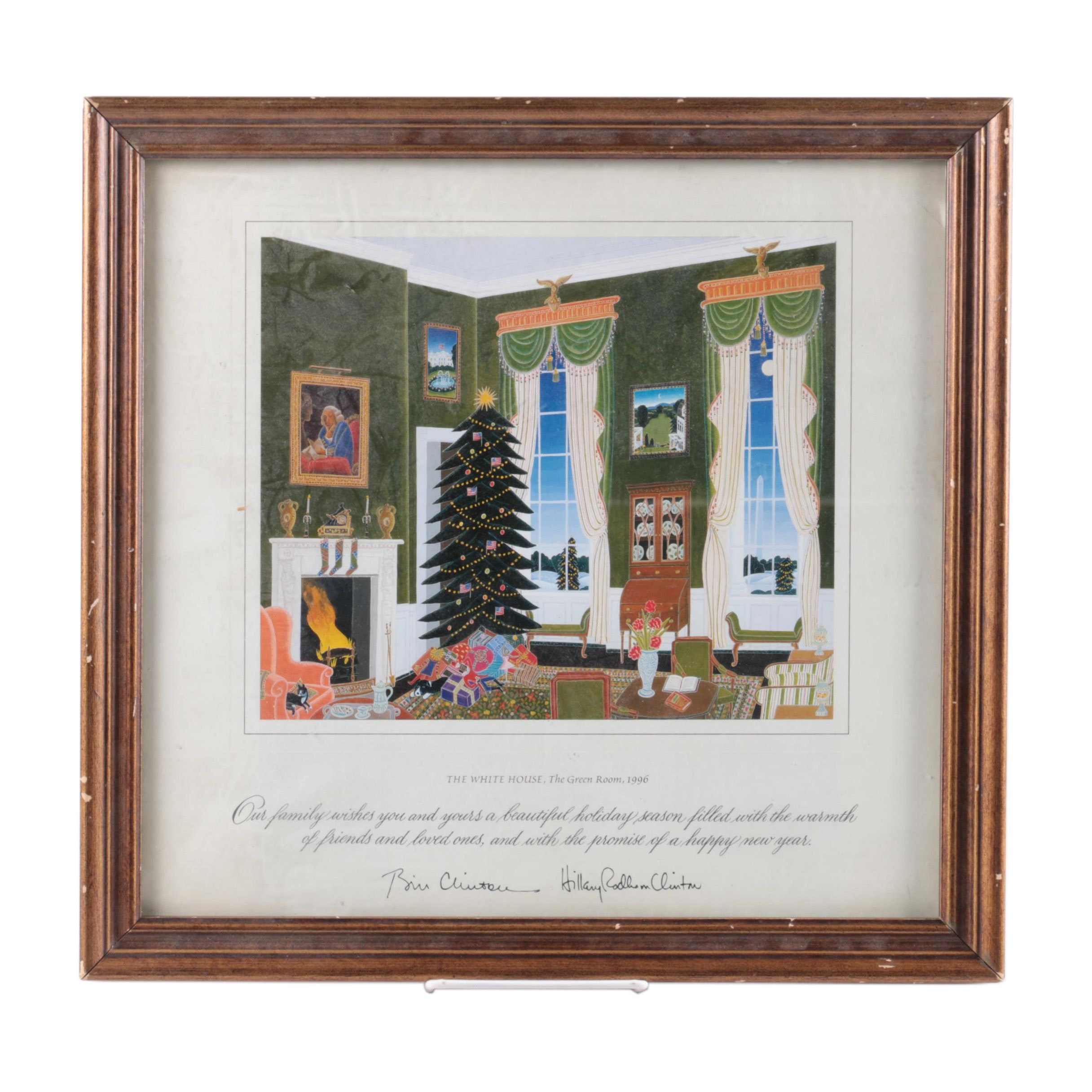 1996 Bill and Hillary Clinton White House Holiday Gift Print in Frame